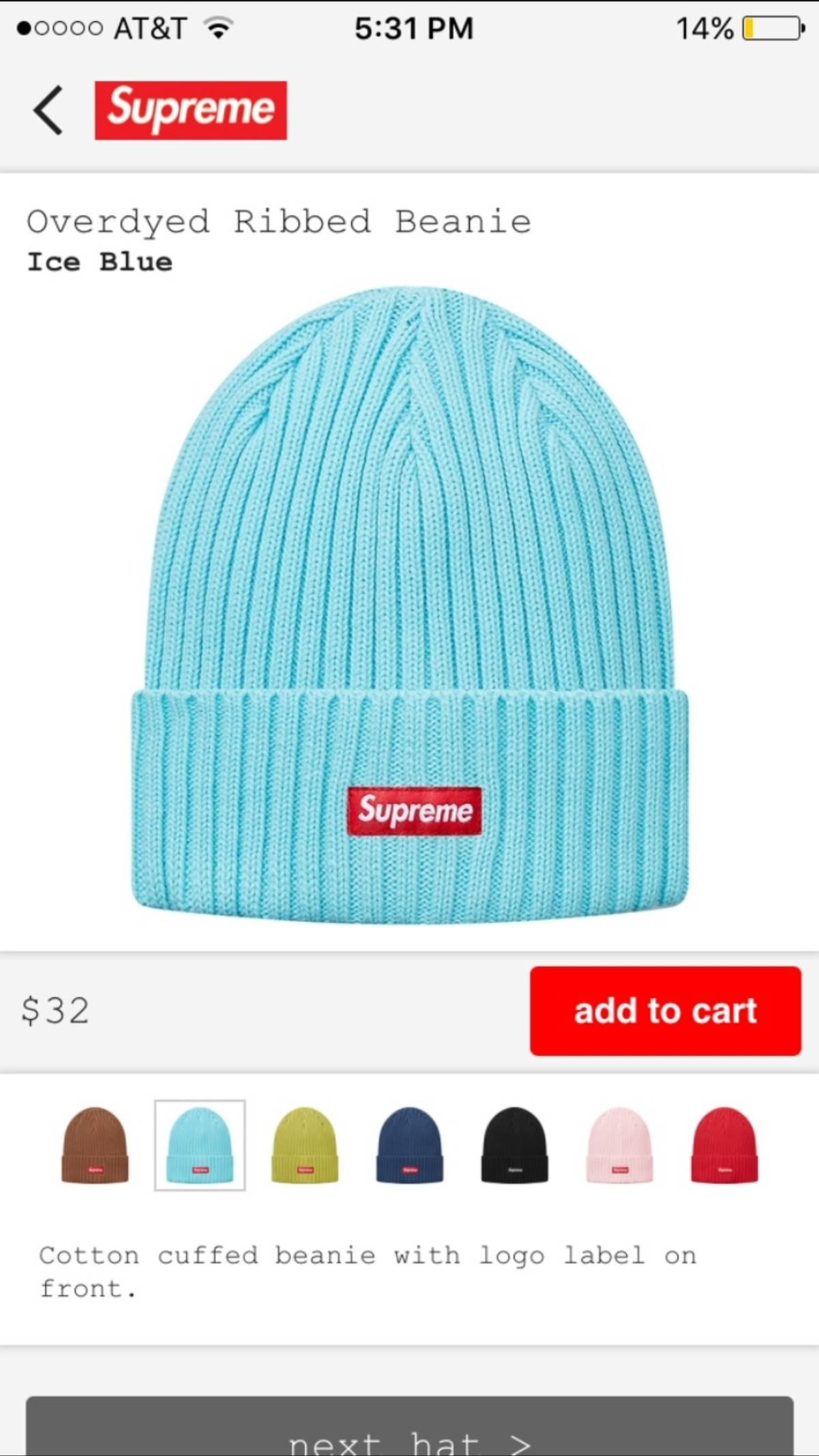 b12cac6e Supreme Overdyed Ribbed Beanie, Ice Blue | Grailed