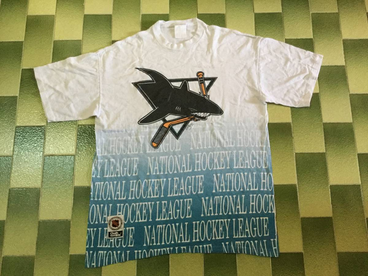Vintage Vintage 90s Chalkline 1992 Nhl San Jose Sharks All Over