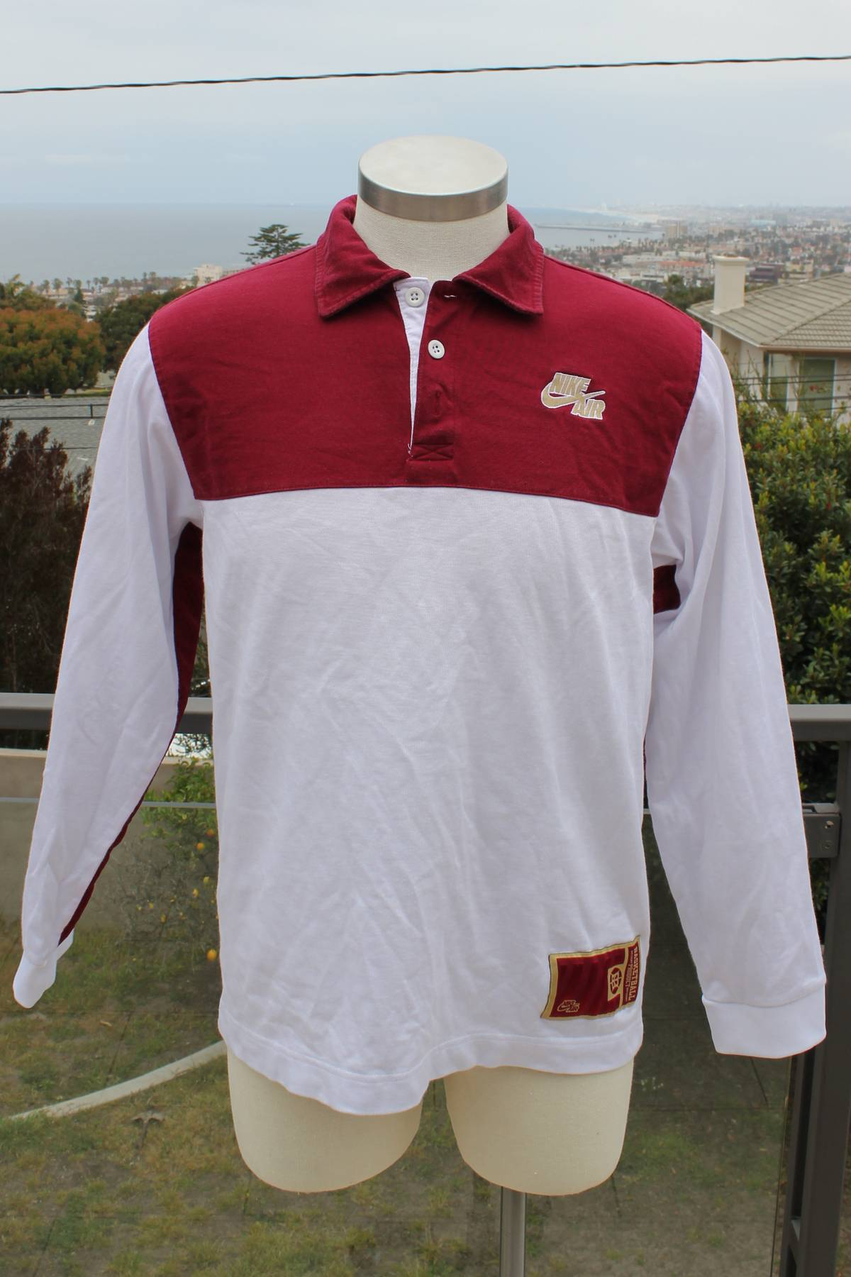 Nike Nike Air Basketball White Redgold Rugby Style Polo Long Sleeve