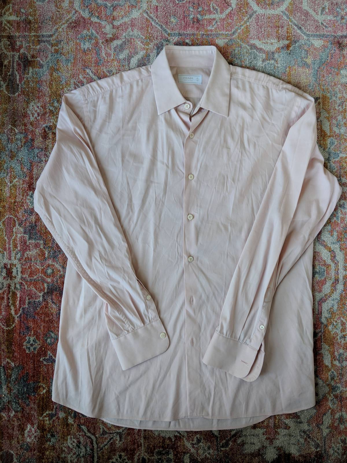 Prada Prada Italy Pink Blush Salmon Dress Shirt Size 41 16 Size L