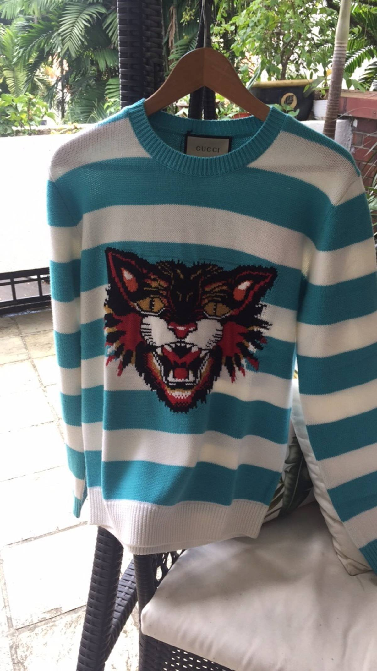 c837c0bb16f Gucci Gucci Angry Cat Intarsia Wool-knit Pullover