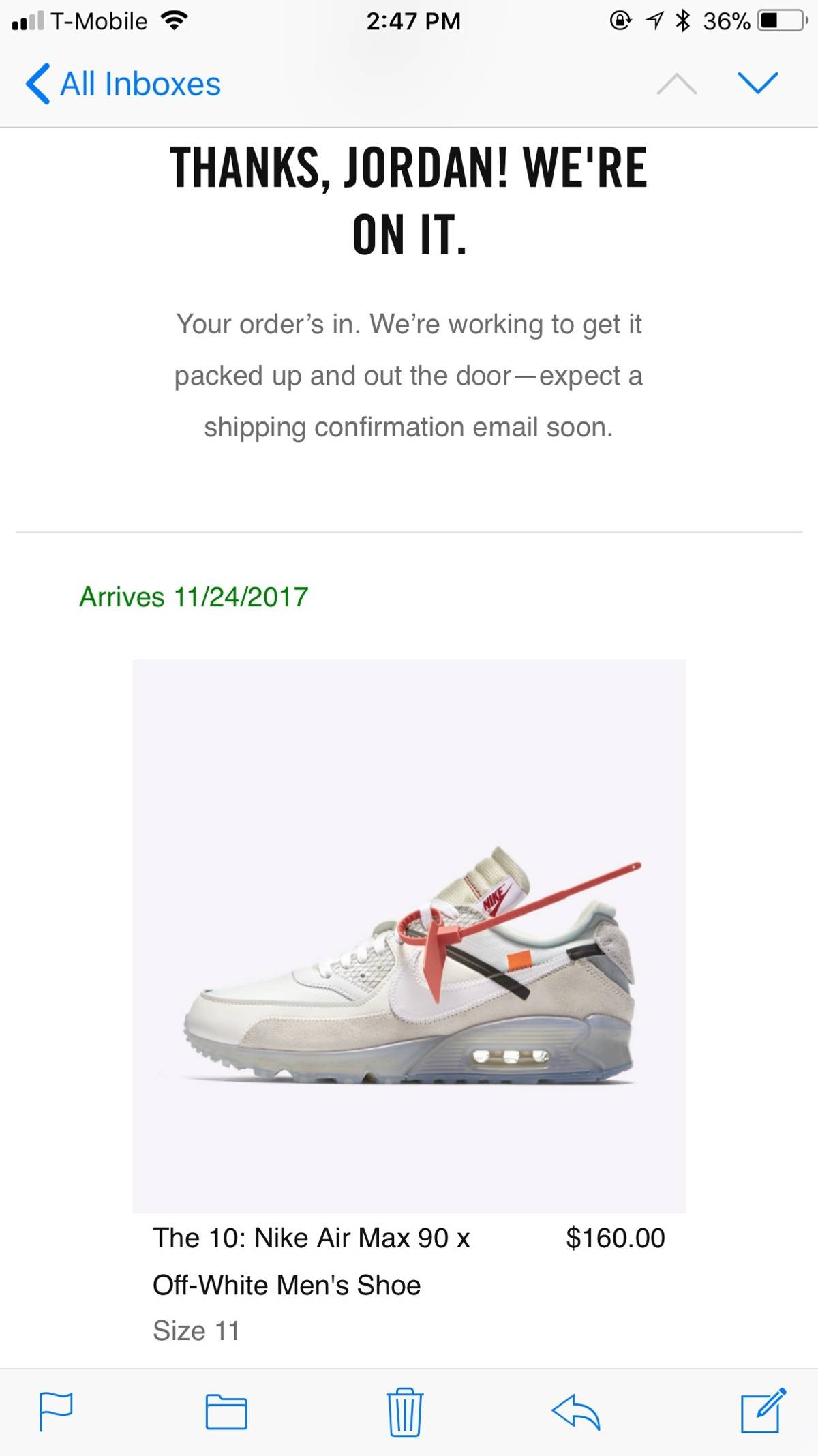 e8b452010dfd Nike Air Max 90 Off White The Ten Size 11 Size 11 - Low-Top Sneakers ...