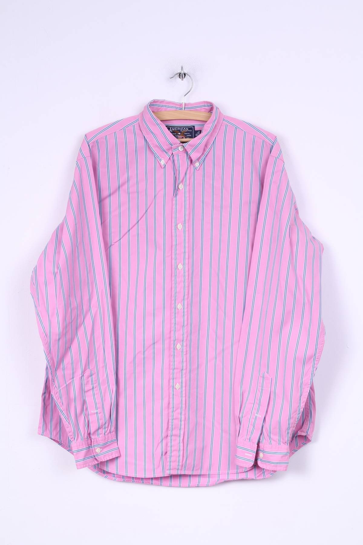 Unbranded American Living Mens Xl Casual Shirt Pink Striped Button