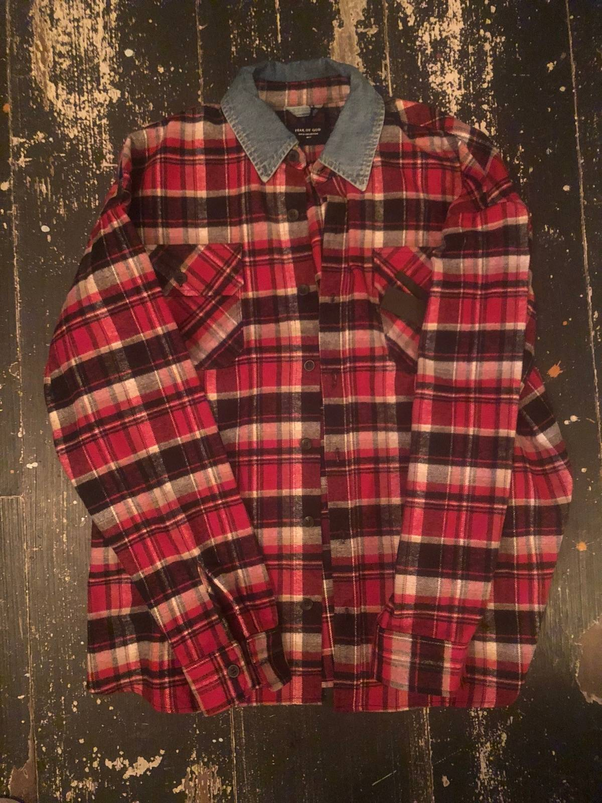 3e3c514883 Fear Of God Fifth Collection - Plaid Oversized Heavy Flannel Shirt With Denim  Collar