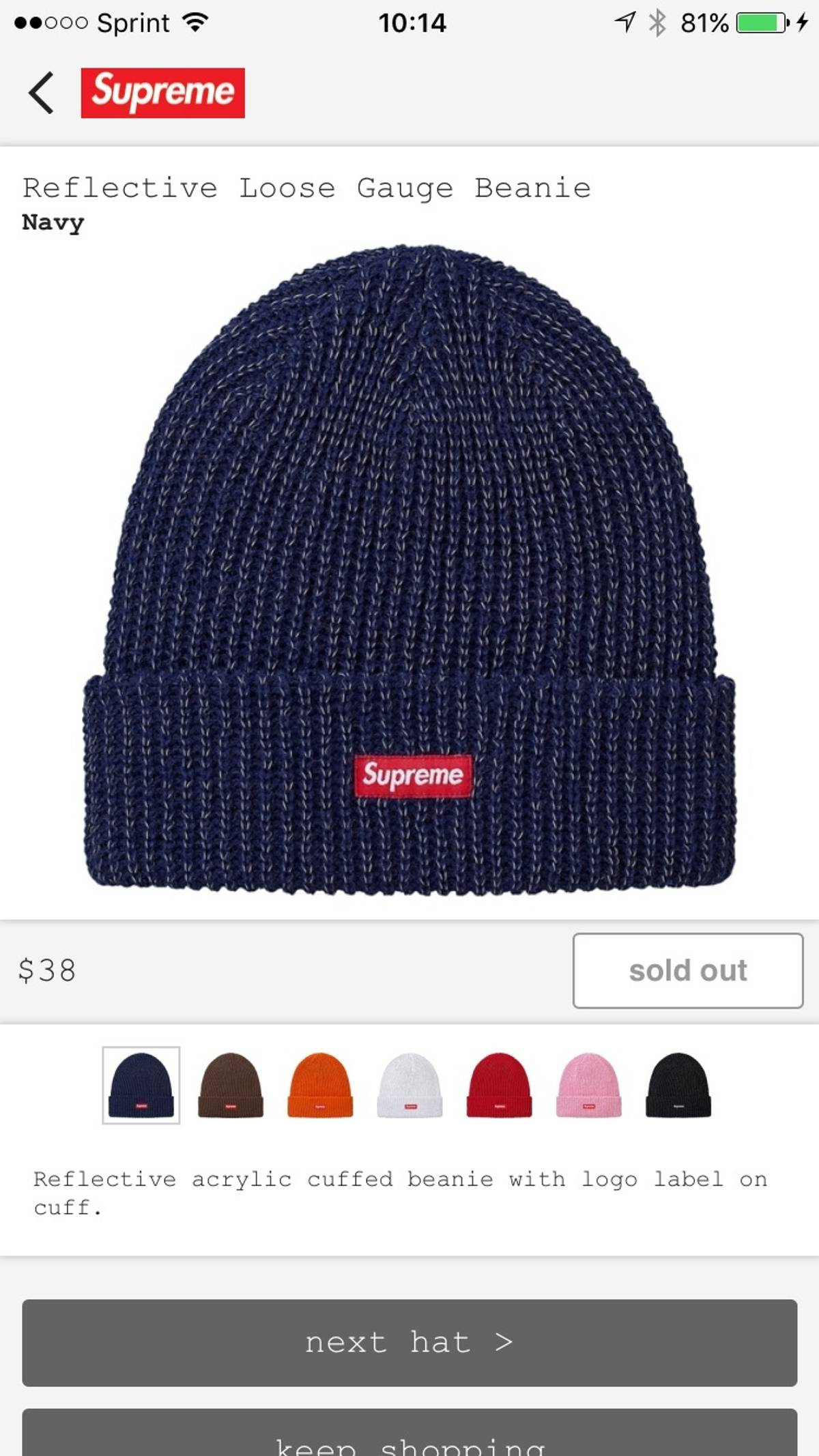 df31efb11705c Supreme Supreme Reflective Loose Gauge Beanie Blue FW17 Size one size -  Hats for Sale - Grailed
