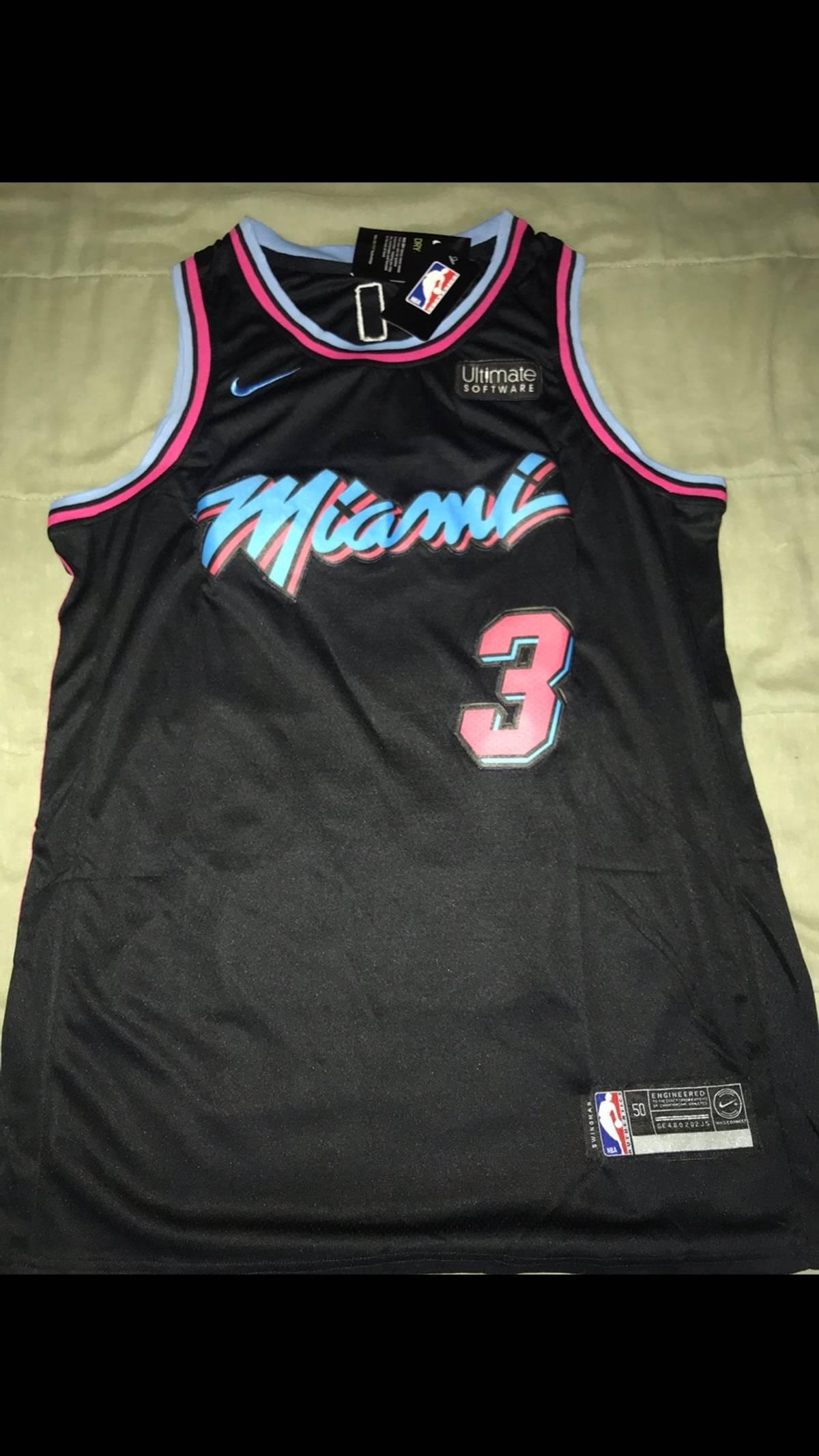 huge selection of 4e2ea c2ab6 Nike Dwyane Wade Miami Vice Black Nba One Last Dance Jersey Nine Size L $40