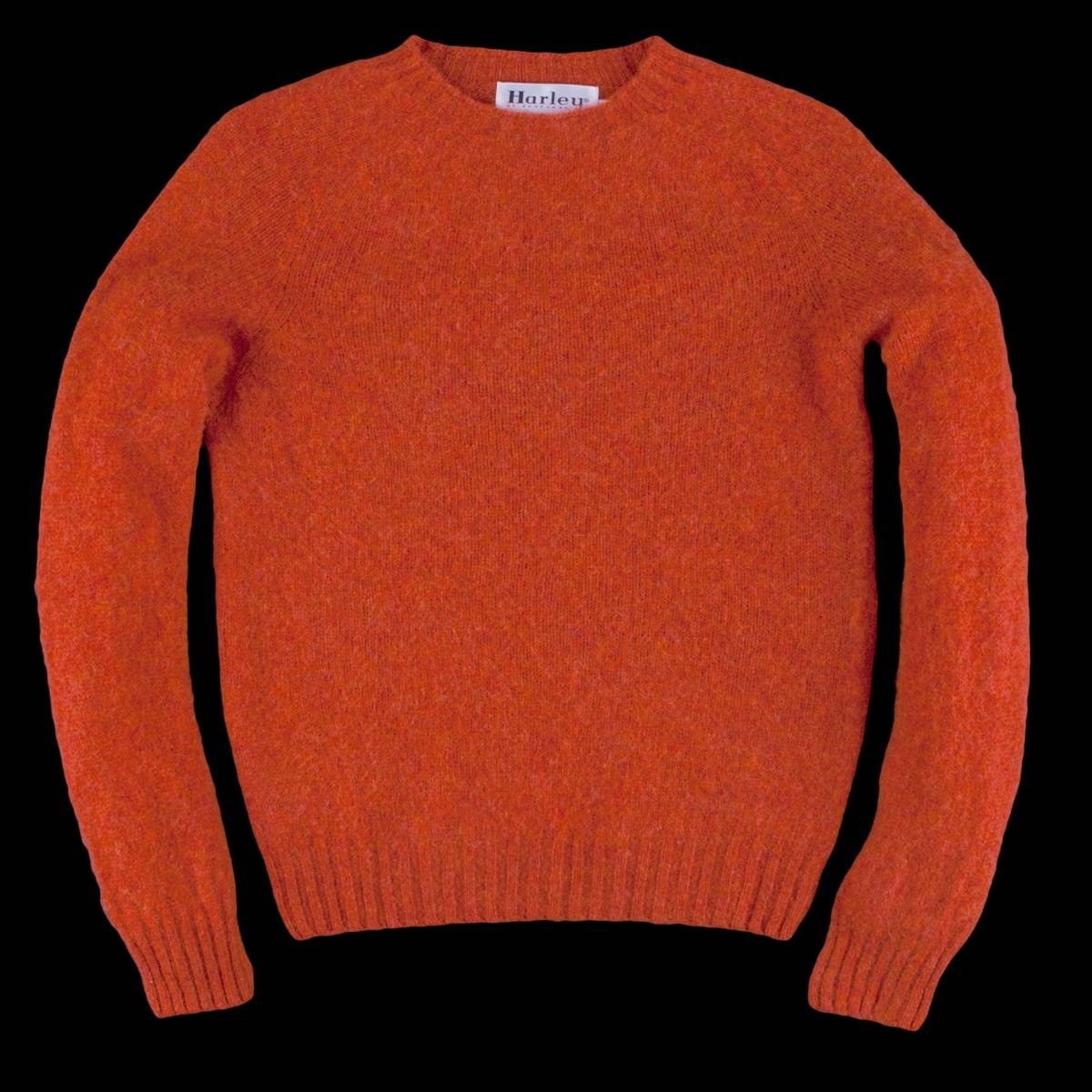 Harley Of Scotland Nwt Shetland Crew Neck Sweater In Iron Rust Size