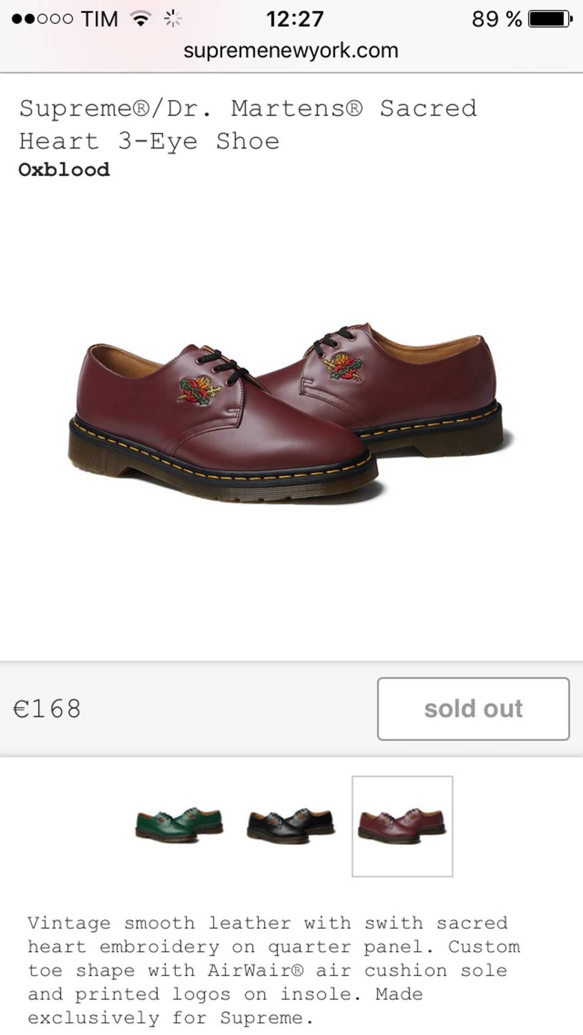 86e742ed0b10 Supreme Supreme x Dr. Martens Sacred Heart 3-Eye Shoe OxBlood Size 10.5 -  Casual Leather Shoes for Sale - Grailed