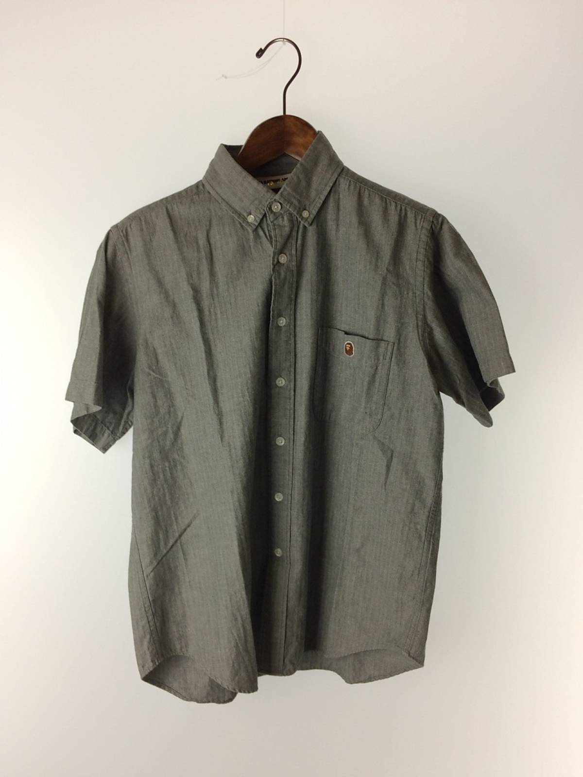 8a2b10a6 Bape Shirt Gray Plain Button Down Cotton Short Sleeve | Grailed