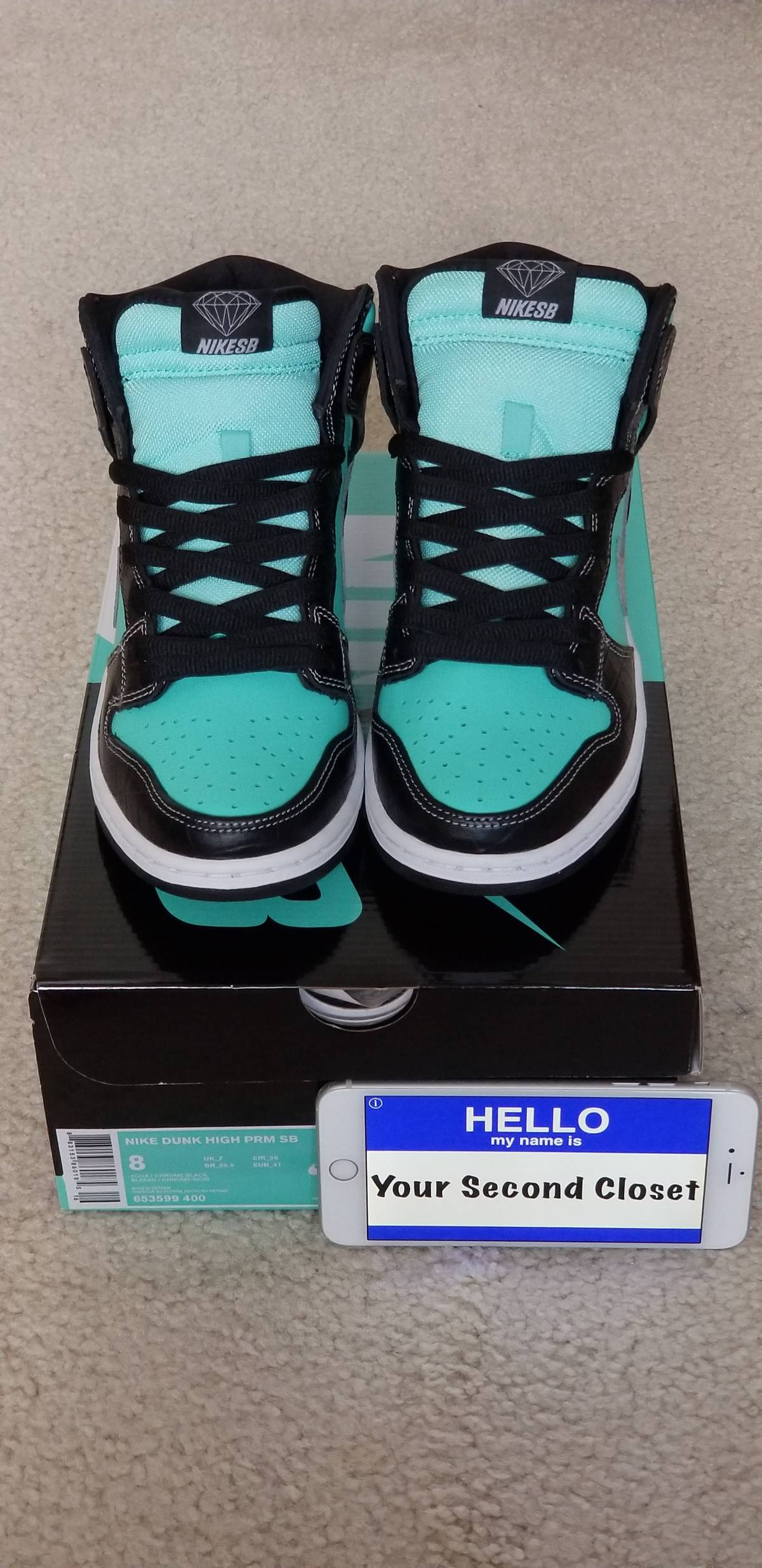 promo code d0659 1d134 Nike Nike Sb Dunk High Diamond Supply Co. Aqua Chrome Tiffany Size 8  Deadstock Size 8 $390