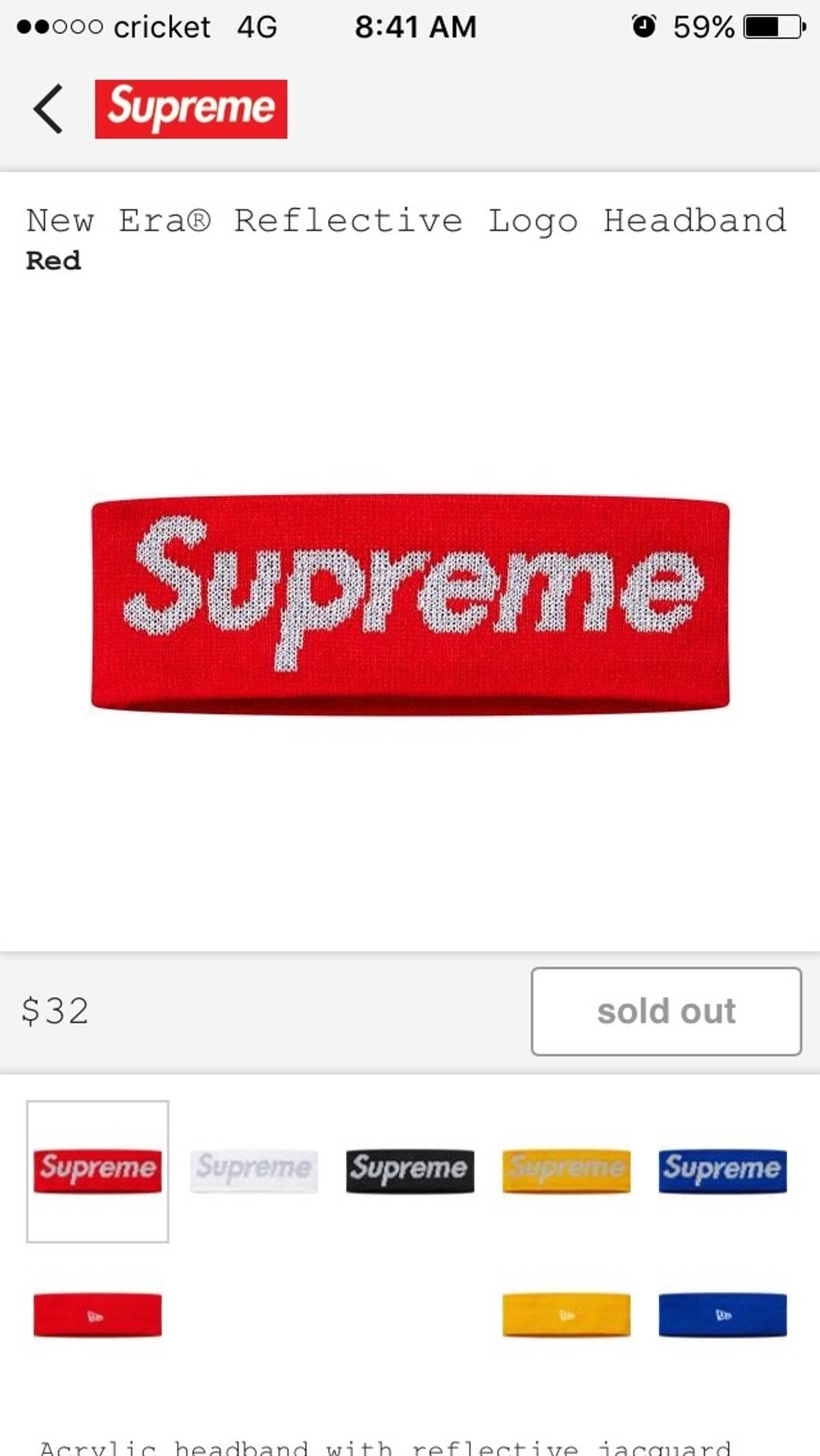 outlet store 86d57 79d79 Supreme × New Era ×. Red New Era Reflective Supreme Logo Headband