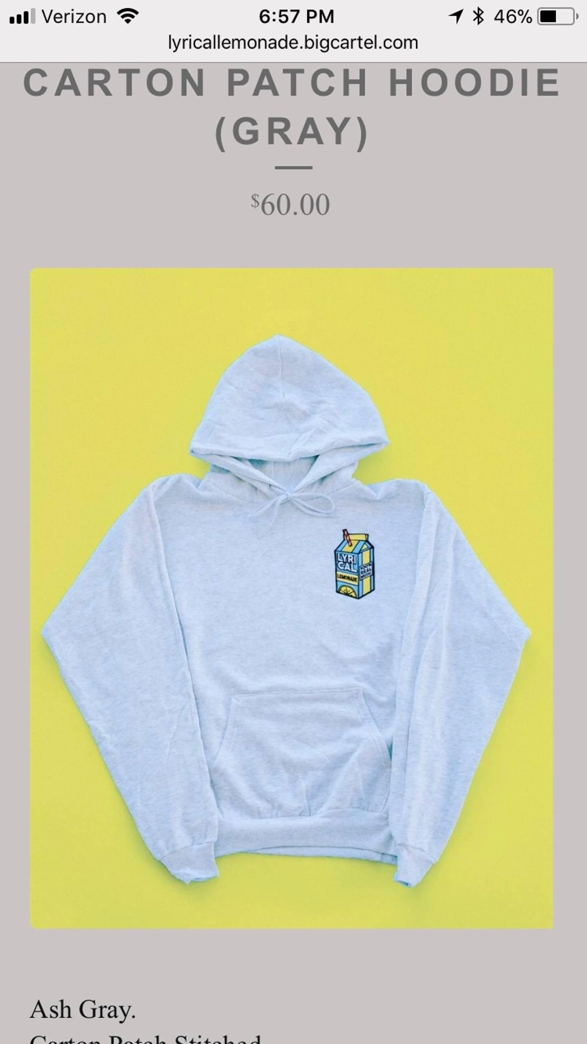 Other Lyrical Lemonade Carton Patch Hoodie Grey Size M $180