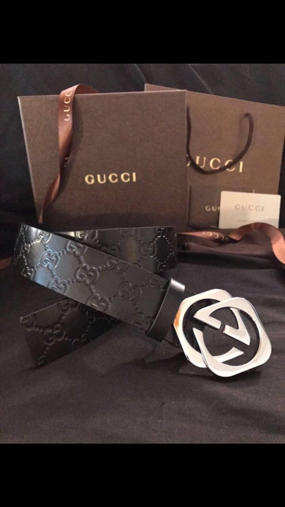 ca8d74f454f Gucci Gucci Interlocking Square G Black Guccissima Size 95cm 32-34 Size 32  - Belts for Sale - Grailed