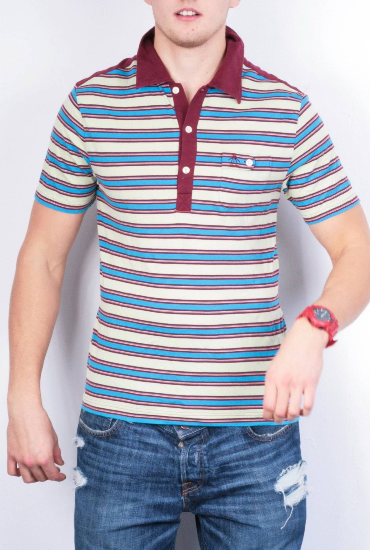 Original Penguin Penguin Mens M Polo Shirt Striped Multi Cotton