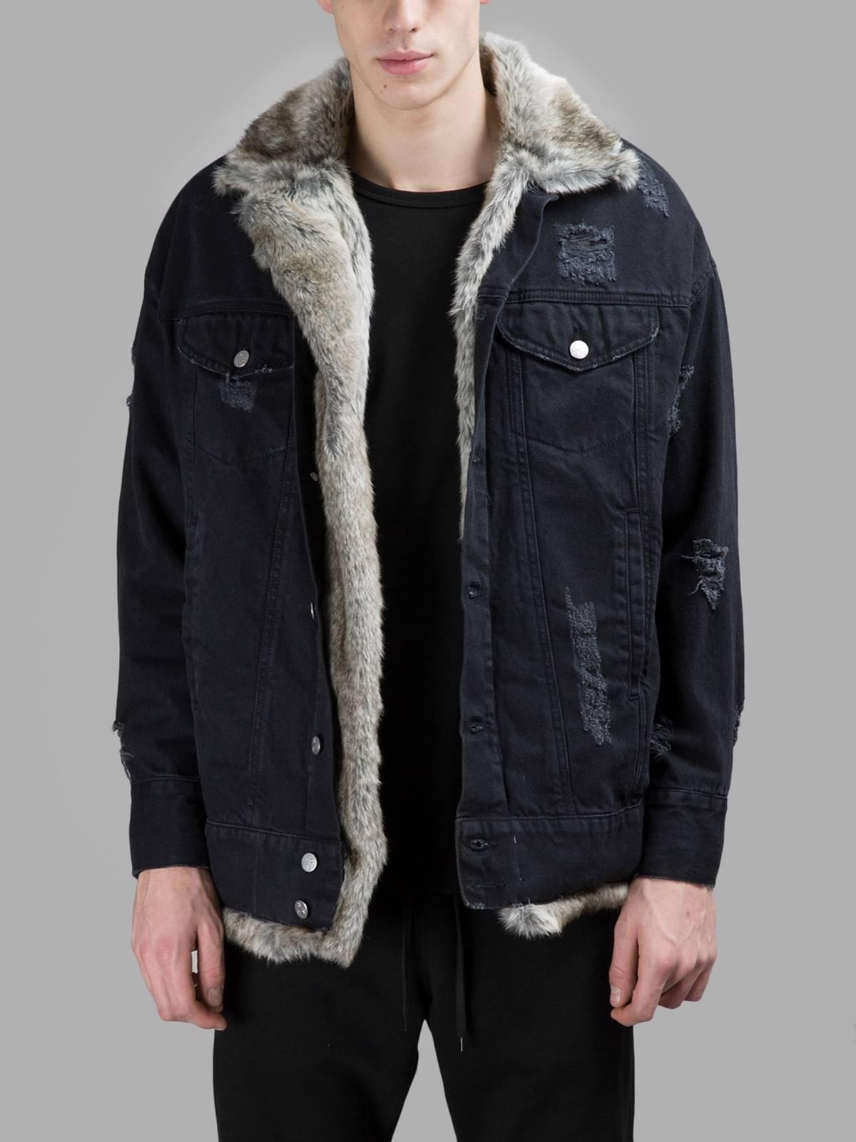 diverse styles professional sale 2019 hot sale Misbhv Misbhv Faux Fur Black Denim Jacket Size S $228