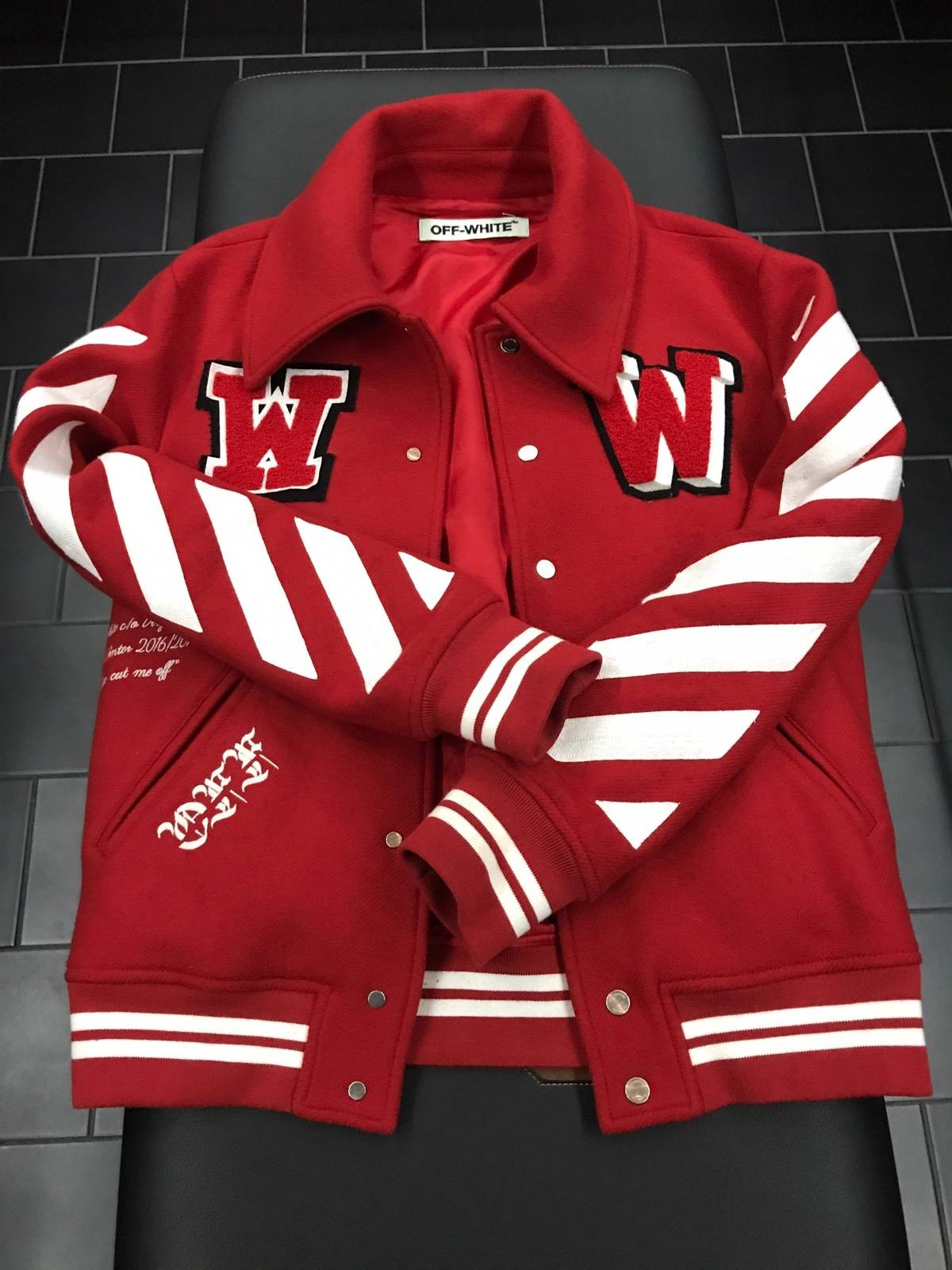 Off White Red Varsity Jacket Size Xxs Light Jackets For Sale Grailed