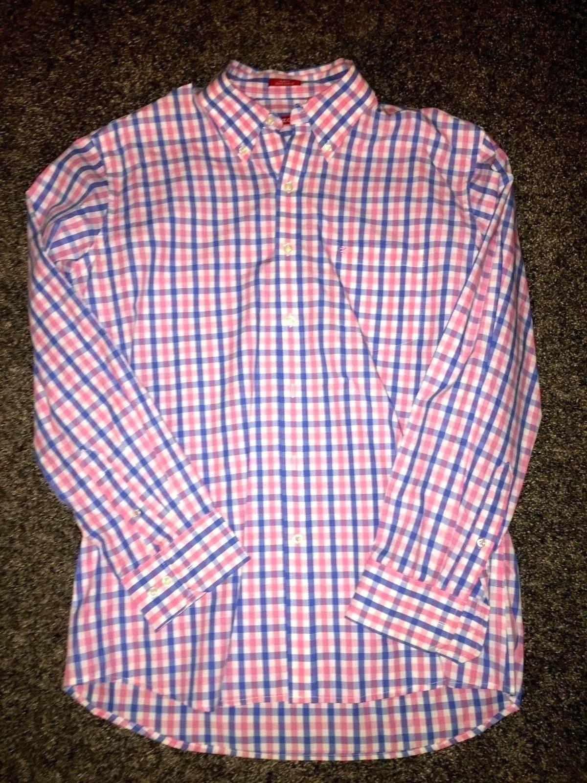 Izod Izod Check Pinkblue Cotton Oxford Shirt Slim Fit Size L