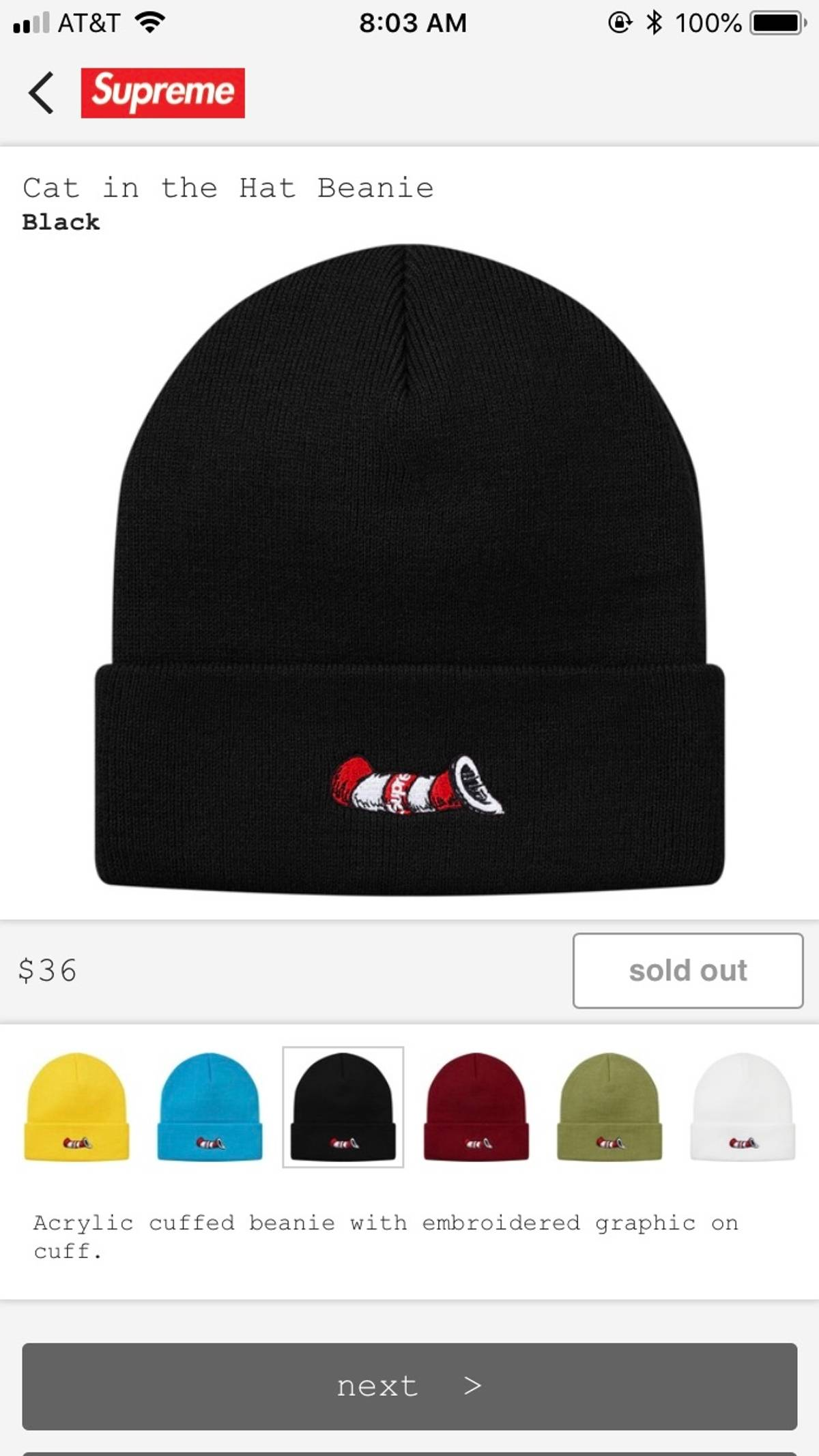 Supreme Supreme Cat In The Hat Beanie Size One Size $57