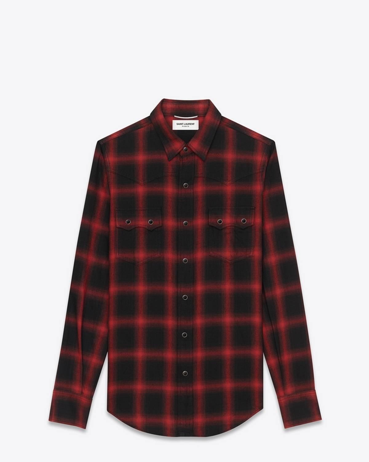 6992188c Saint Laurent Paris Nashville Western Shirt Black Red Xs Size Xs $350