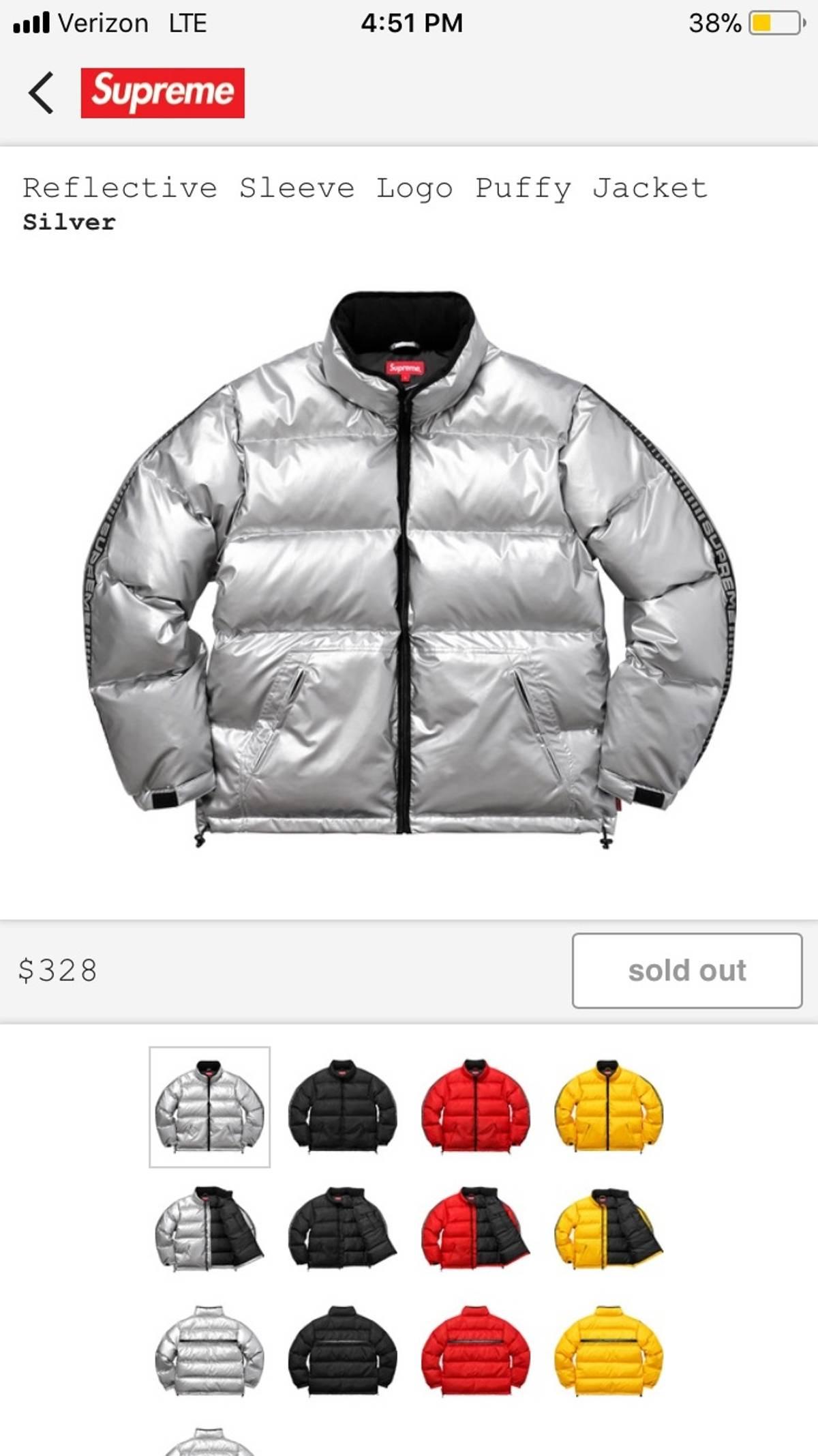 010ed766 Supreme Supreme Reflective Sleeve Logo Puffy Jacket | Grailed