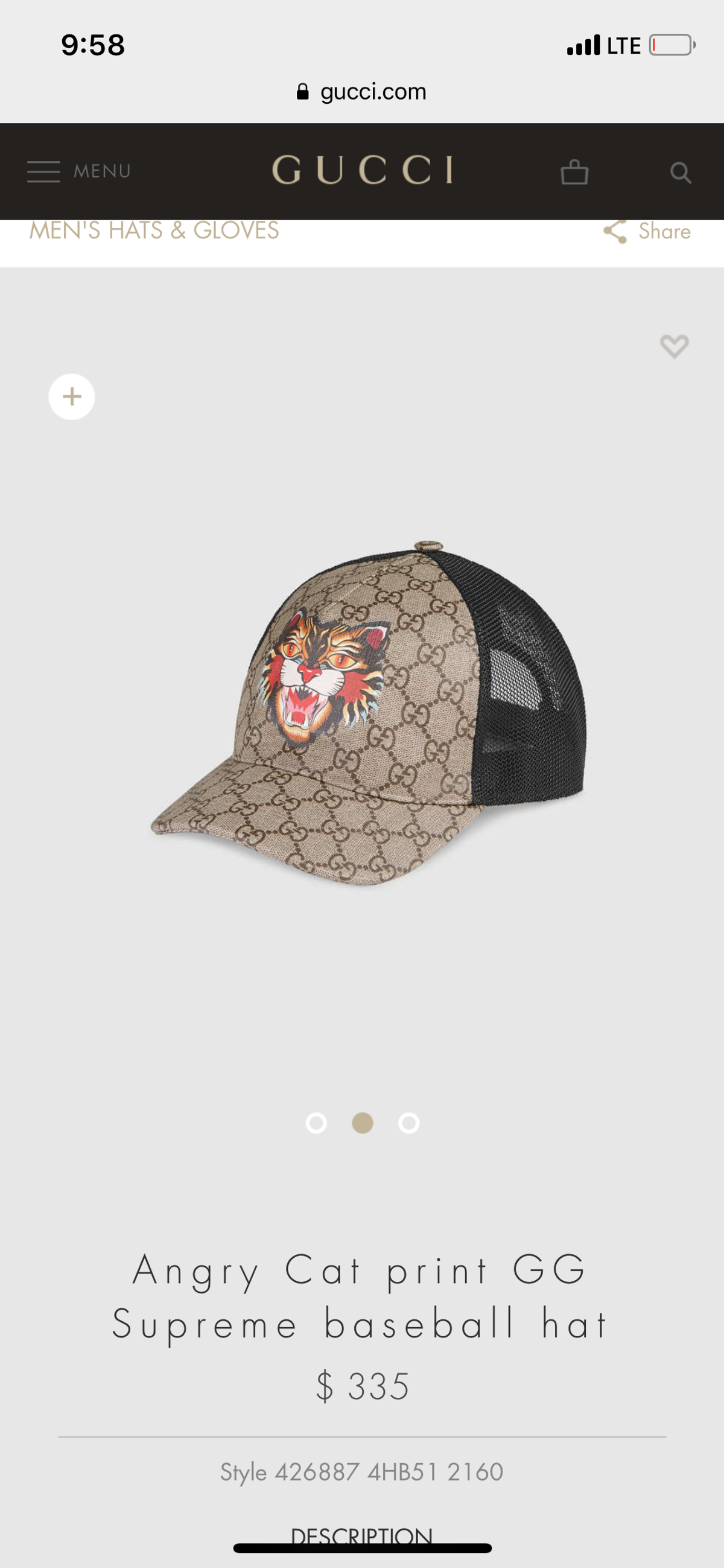 154bba0f Gucci Angry Cat Gg Baseball Hat | Grailed
