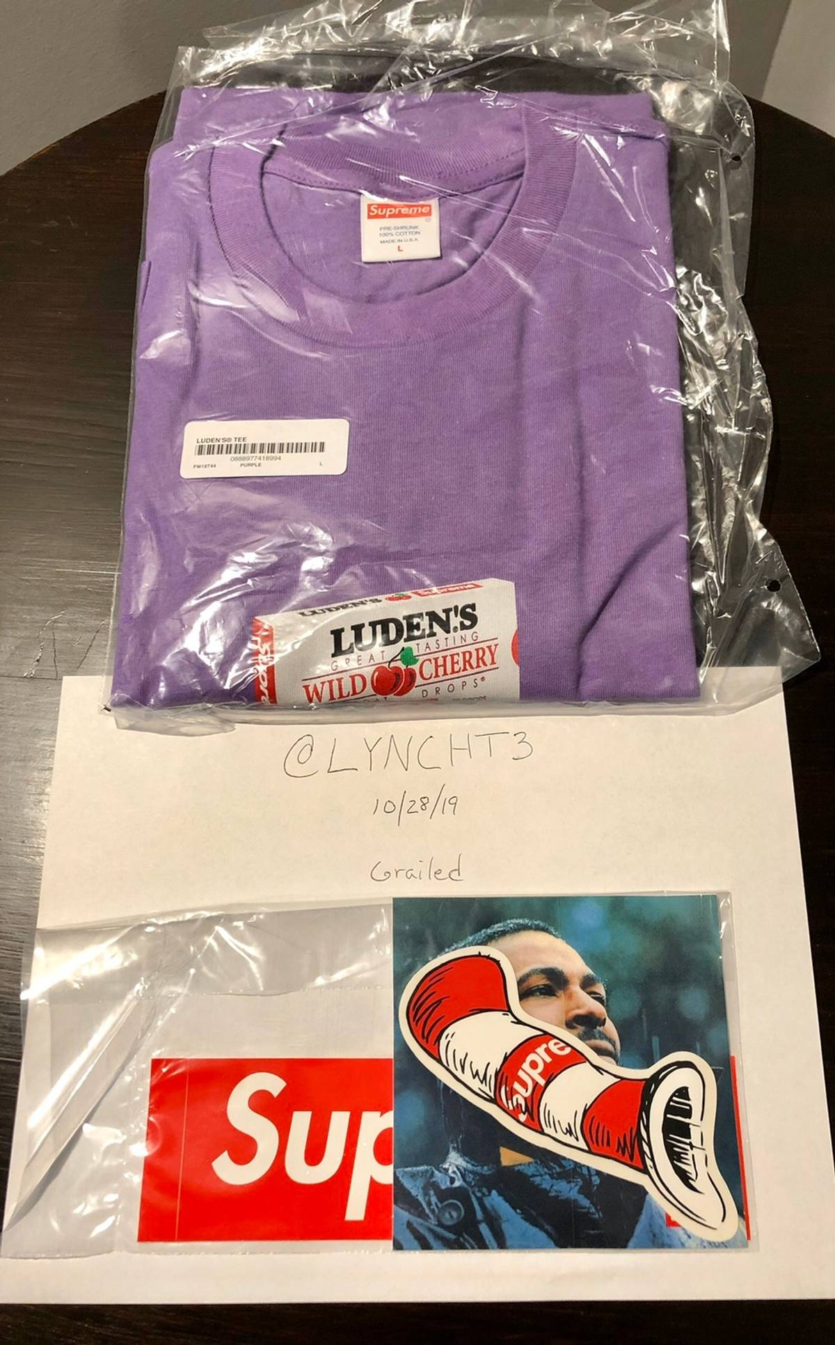 1 Brand New Supreme Luden/'s White Medium Tee Shirt + Luden/'s Cough Drop Pack