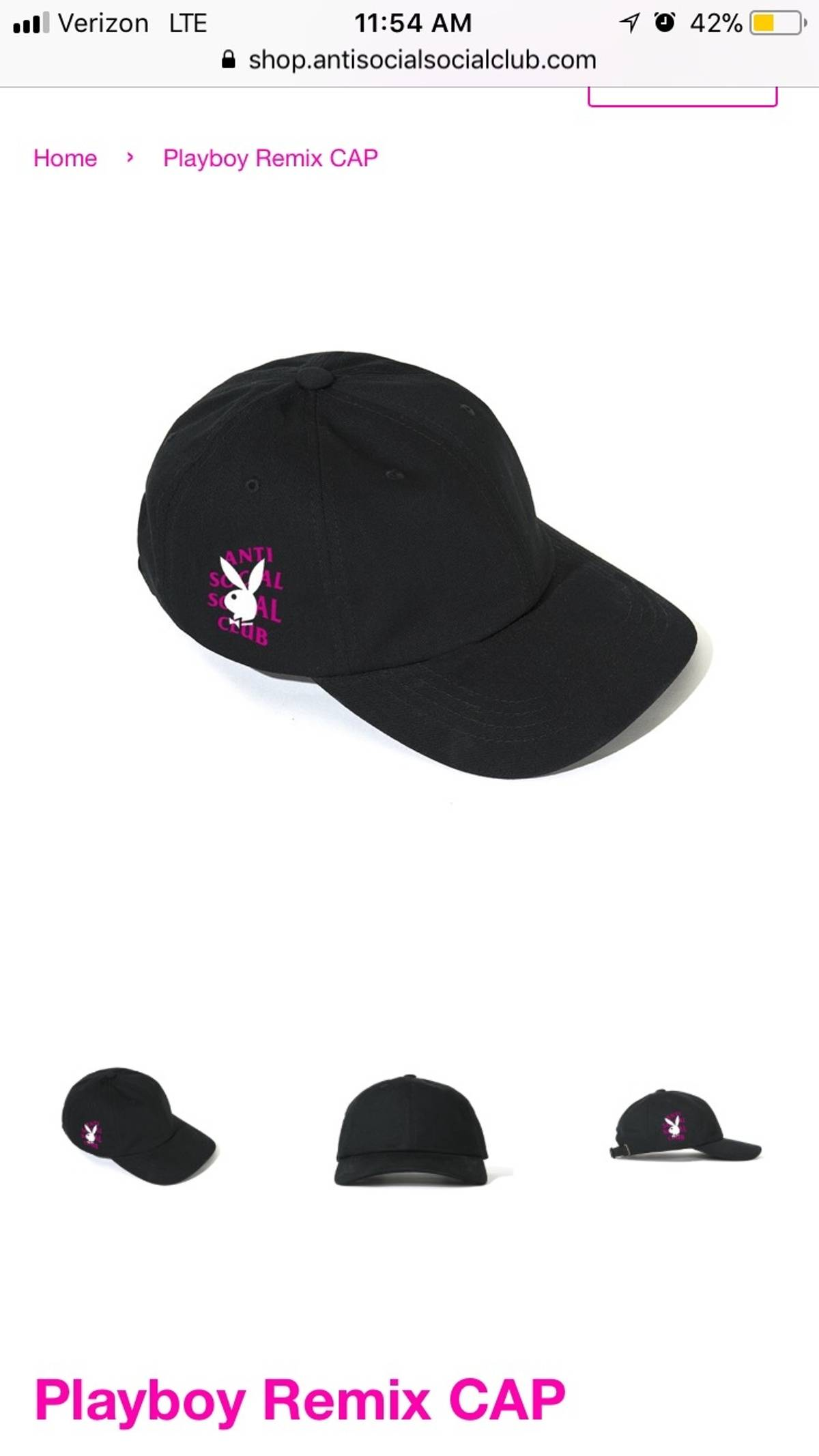 2f87e263aac7c Playboy Anti Social Social Club Playboy Remix Hat