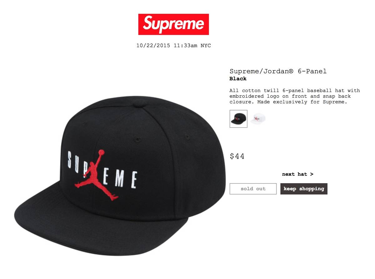 Supreme x Air Jordan Hat (Black) Size one size - Hats for Sale - Grailed 228cb06cd93