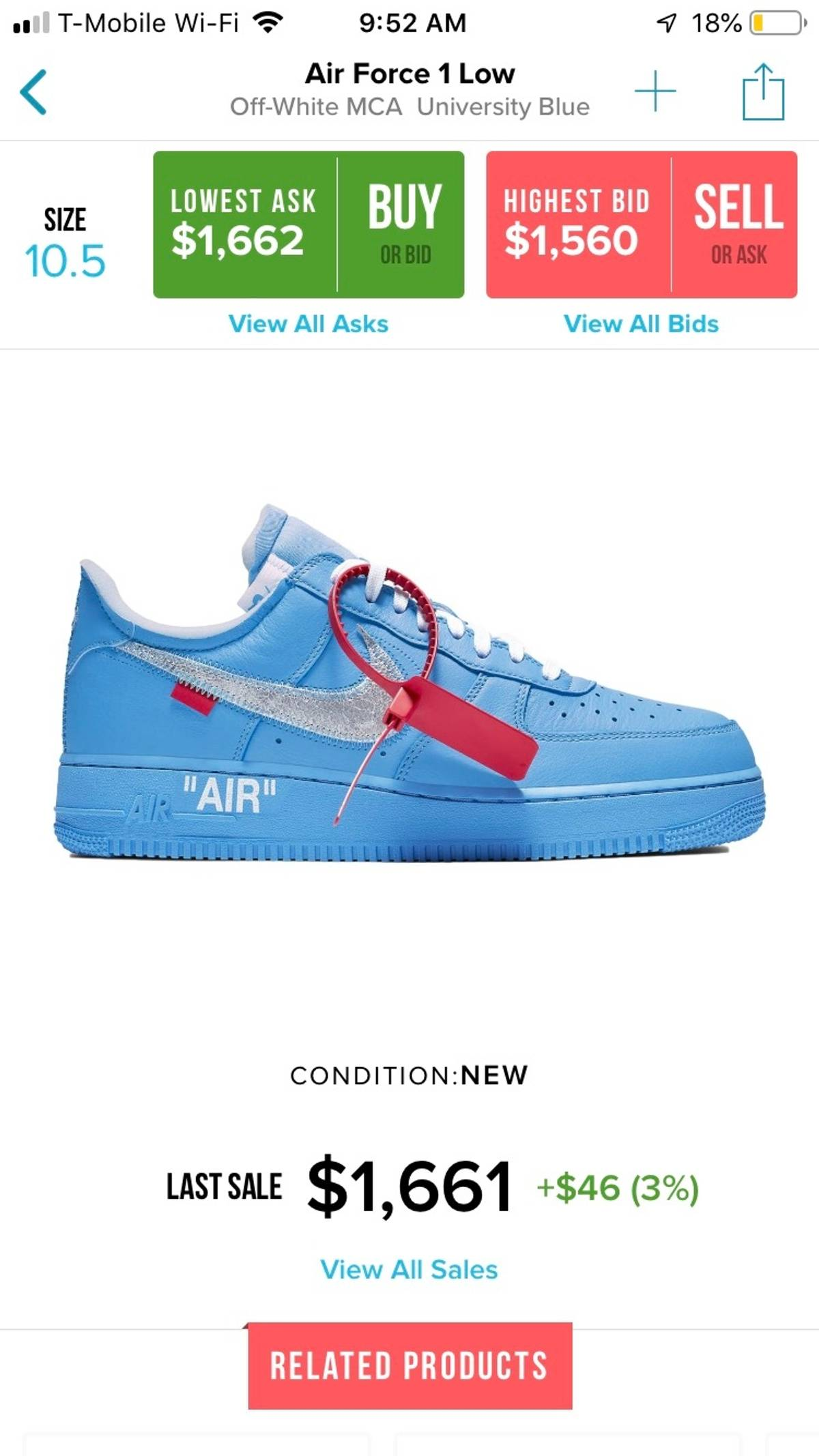 Nike Nike X Off White Air Force 1 Af1 Mca Blue Grailed