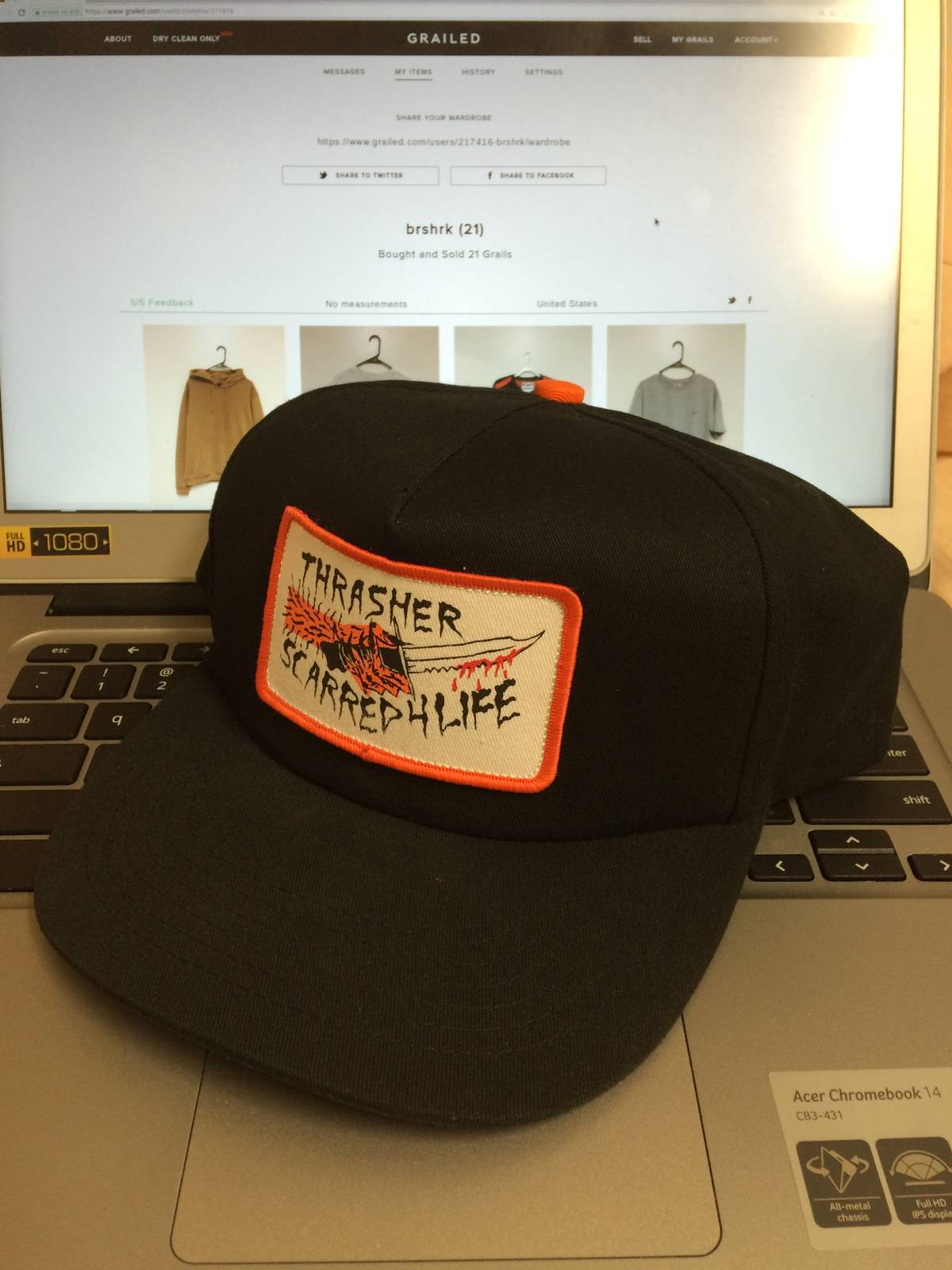 47d6ba40374 Thrasher Limited Scarred Snapback Size one size - Hats for Sale - Grailed
