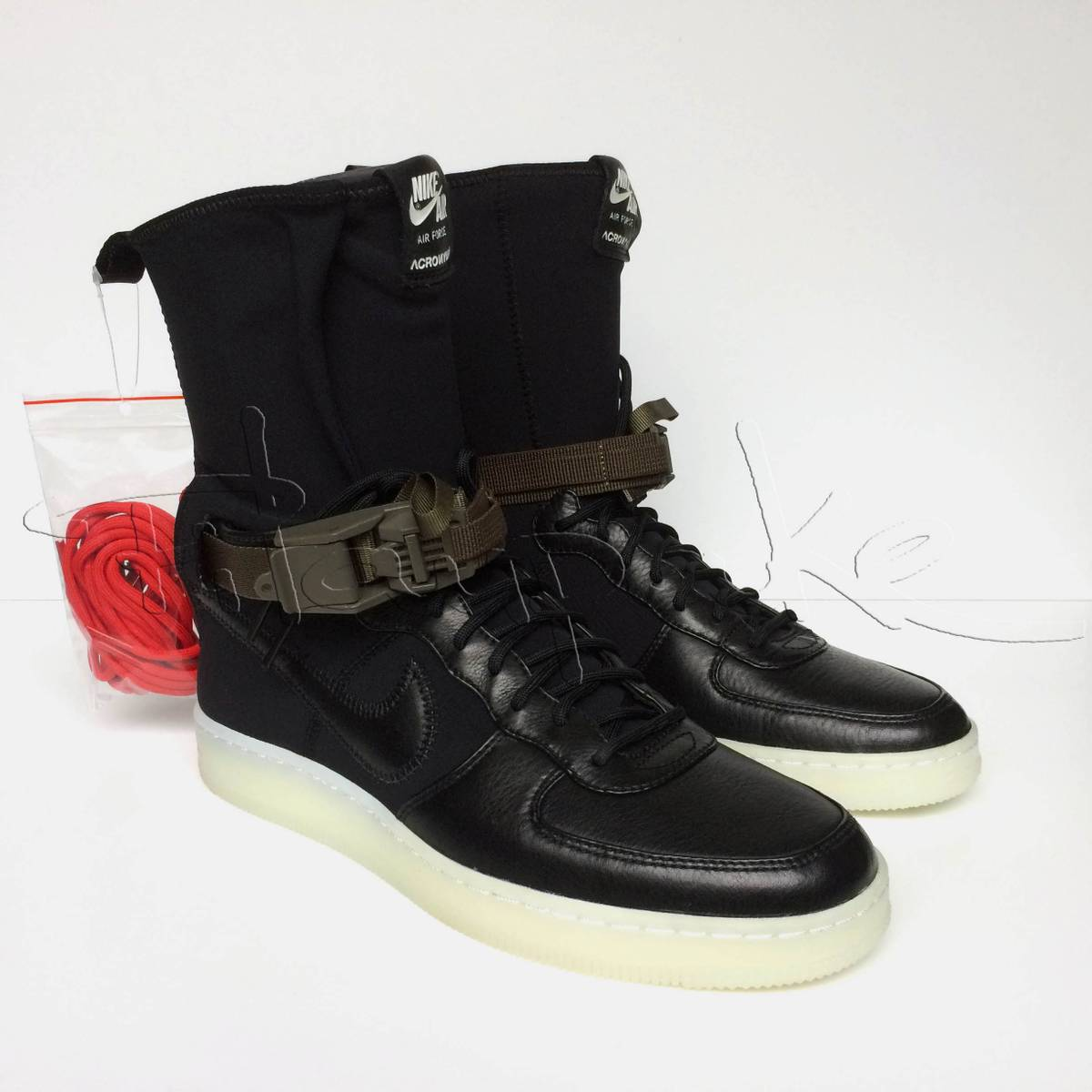 ... wholesaler cb6f8 49ca4 Nike Nike NikeLab x Acronym Air Force 1   detailing f93fc 969bd Nike x Acronym Air Force 1 Downtown Hi SP Black  Bright Crimson ... 8dfcebbbf