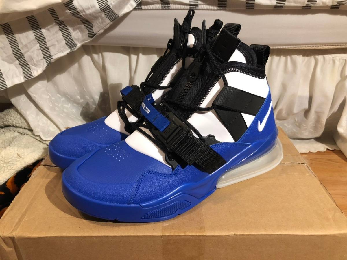 Details about New Nike Air Force 270 AH6772 008 BlackWhiteWolf GreyBlue Emerald Men Size 12