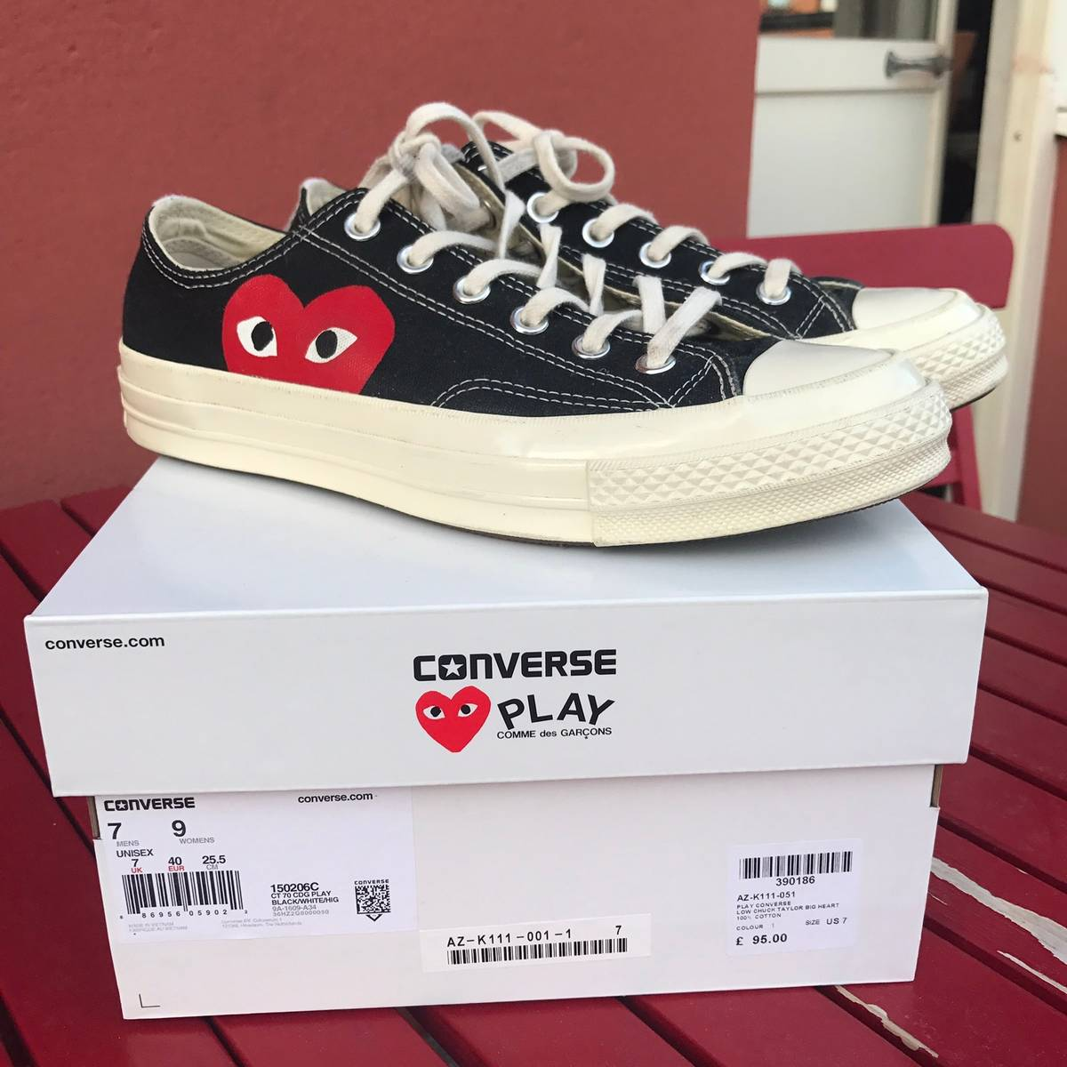 8e3f55cb527125 Converse CDG Play Converse Low Chuck Taylor Big Heart Black Size 7 -  Low-Top Sneakers for Sale - Grailed