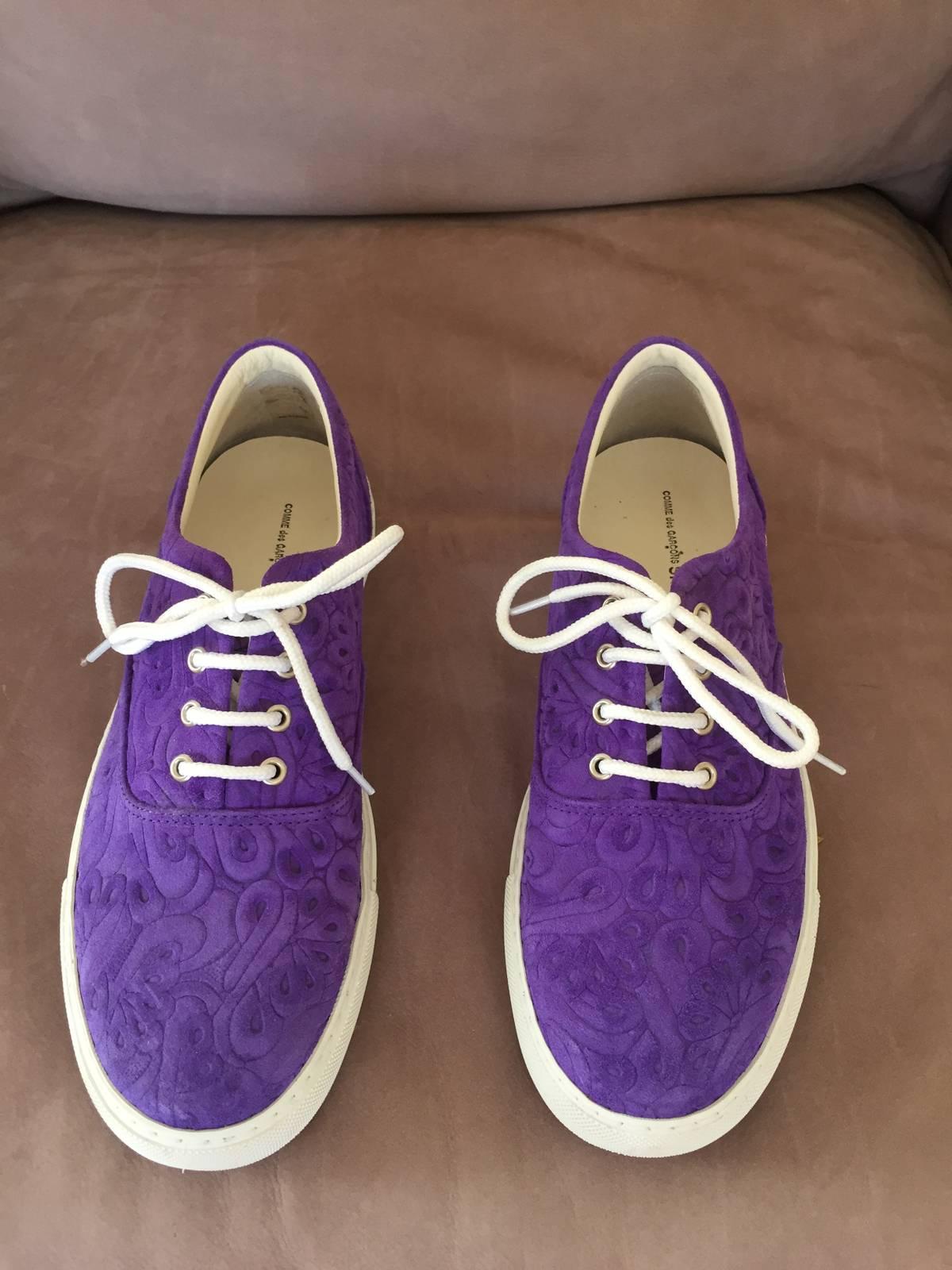 cd4d5c7fcf2d8d Comme Des Garcons Purple Suede Paisley Shoes