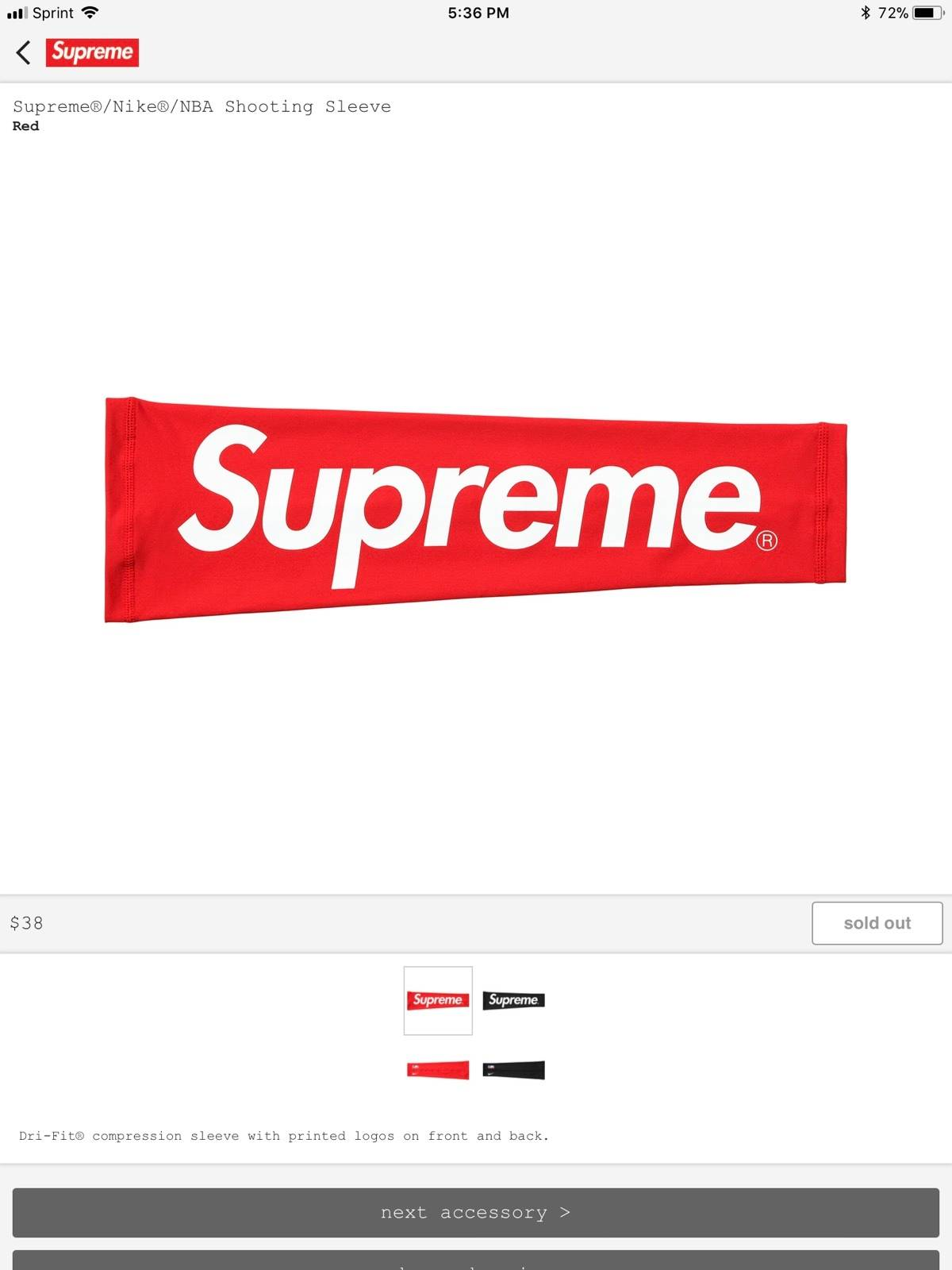 Supreme Shooting Sleeve Size One Size Supreme For Sale Grailed
