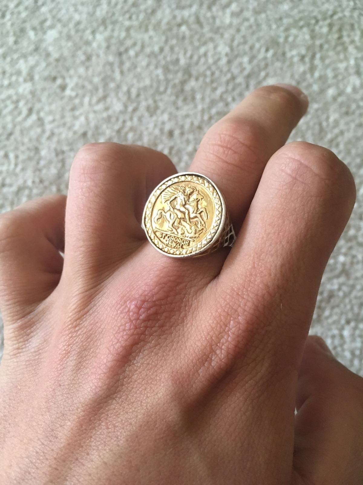s a gold solid sovereign cast setting in asp fully hallmarked ring men p mens round rings