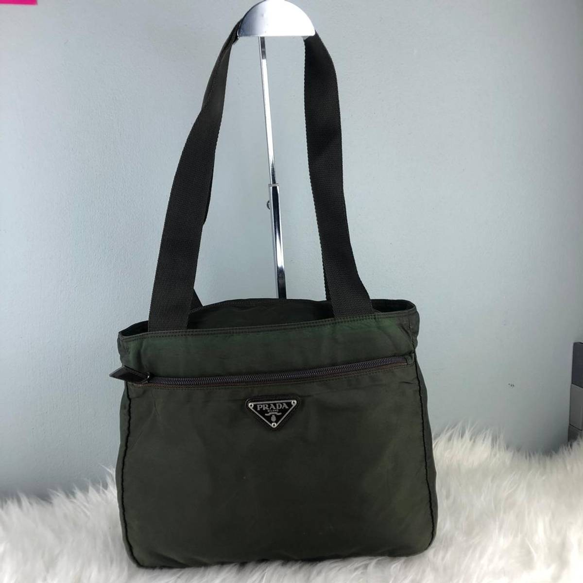 accc62f838454d Prada Rare & Collection Authentic Prada Nylon Dark Green Tote Bag ...