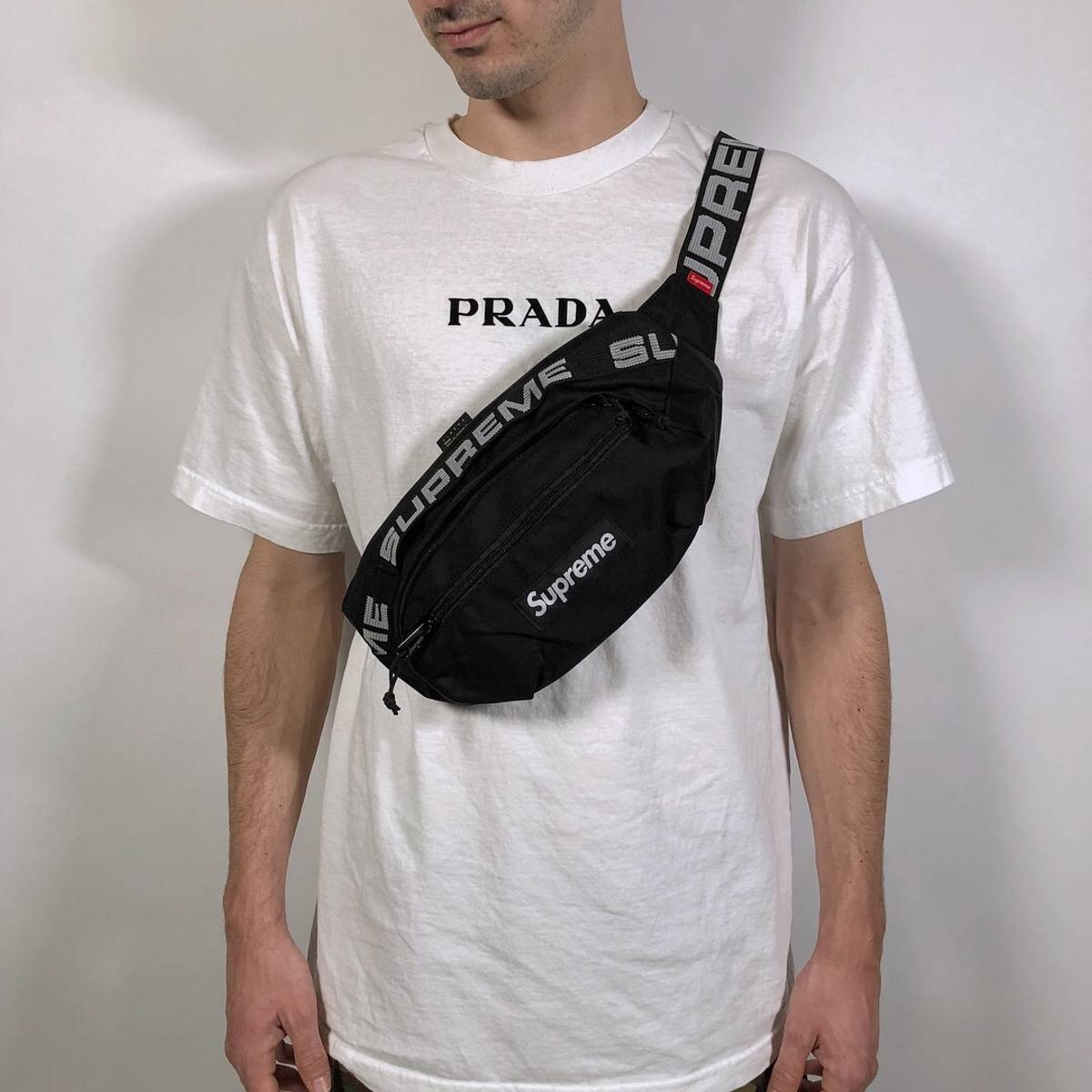 Supreme 🎱🎱 Nwt Supreme Ss18 Black Fanny Pack Cross-body Waistbag