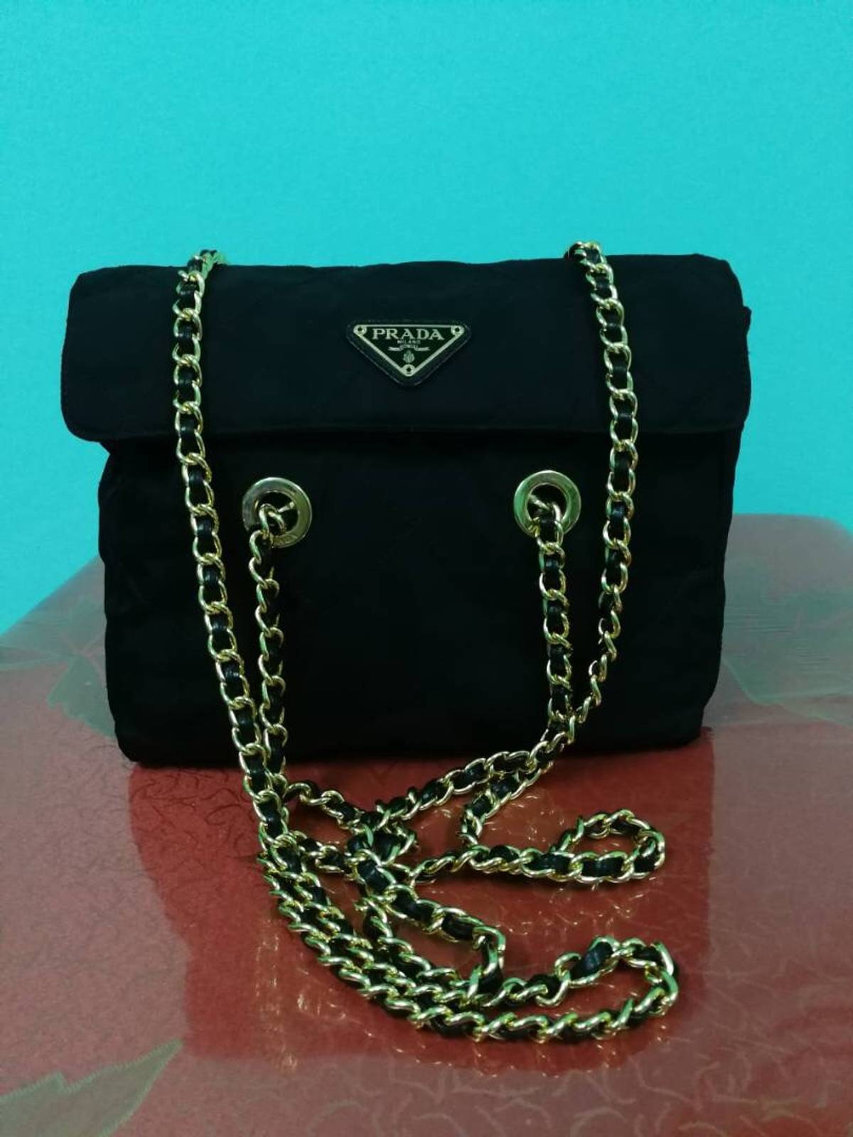 5065a74b5bd9 Prada Black Tessuto Gold Chain Shoulder Bag B1467