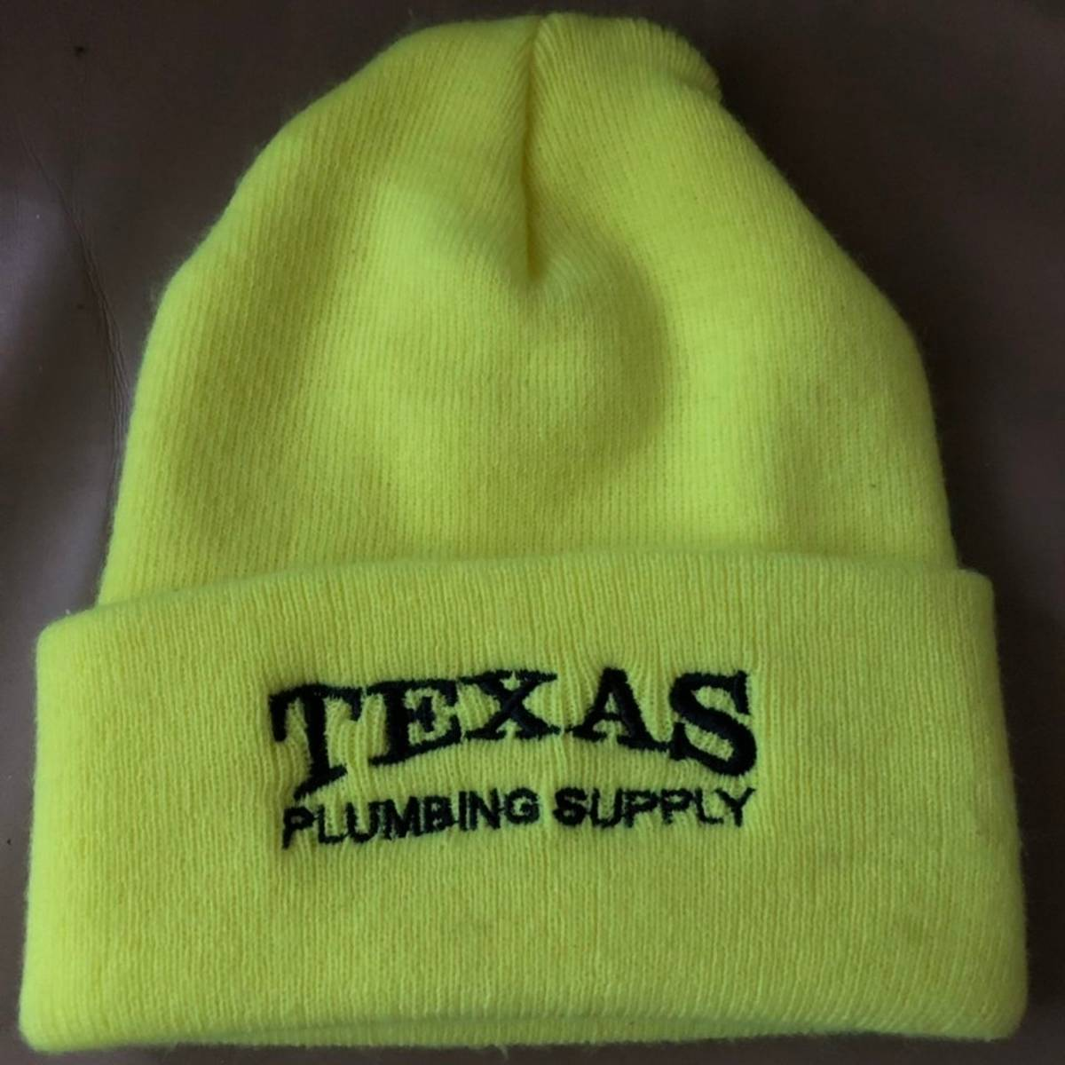 Hat × Thrifted × Vintage Texas Plumbing Supply Neon Green / Neon Yellow  Safety Green Beanie With Black Lettering Size One Size $15