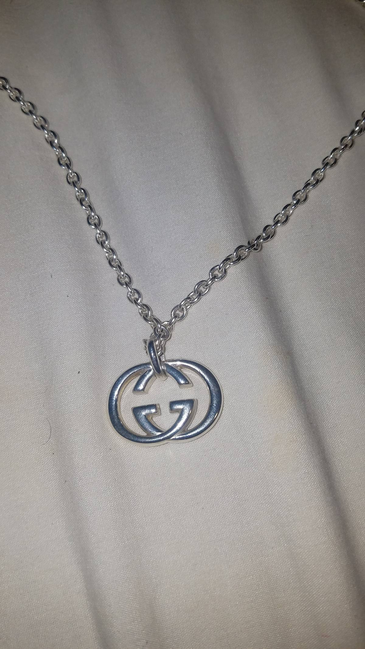 4d4ba3144a Gucci Sterling Silver Double G Pendant Necklace Size One Size $155