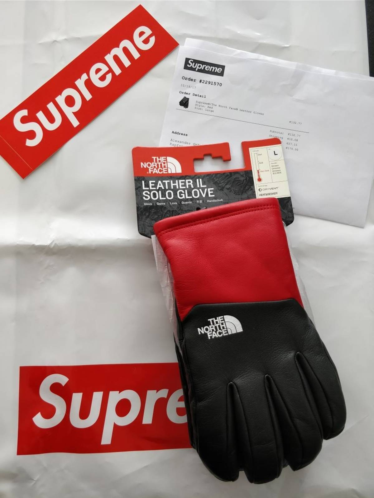 a60d8ade4ef892 Supreme × The North Face ×. Supreme / The North Face Leather Glove Red
