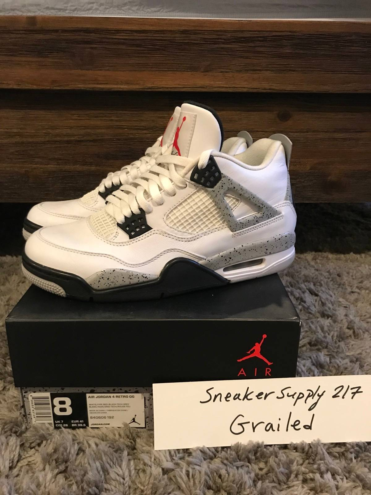 "buy online 2c215 ad934 Jordan Brand Nike Air Jordan 4 White Cement ""Nike Air"" Off White Yeezy  Supreme Louis Vuitton Gucci Size 8 $220"