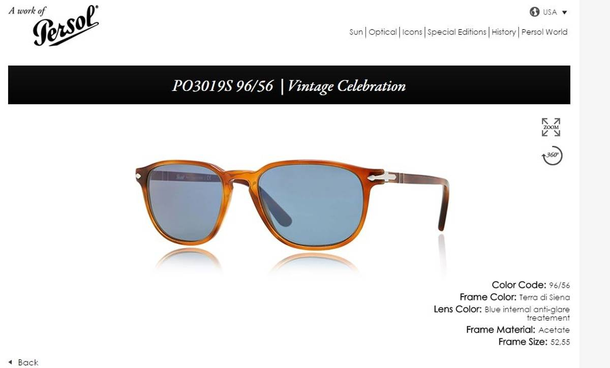 25c243a77b Persol Persol 3019-S 96 56 Terra di Siena Havana Amber   Blue lense Unisex  light brown vintage celebration tortoise sunglasses 52mm  250 - Italy Size  one ...