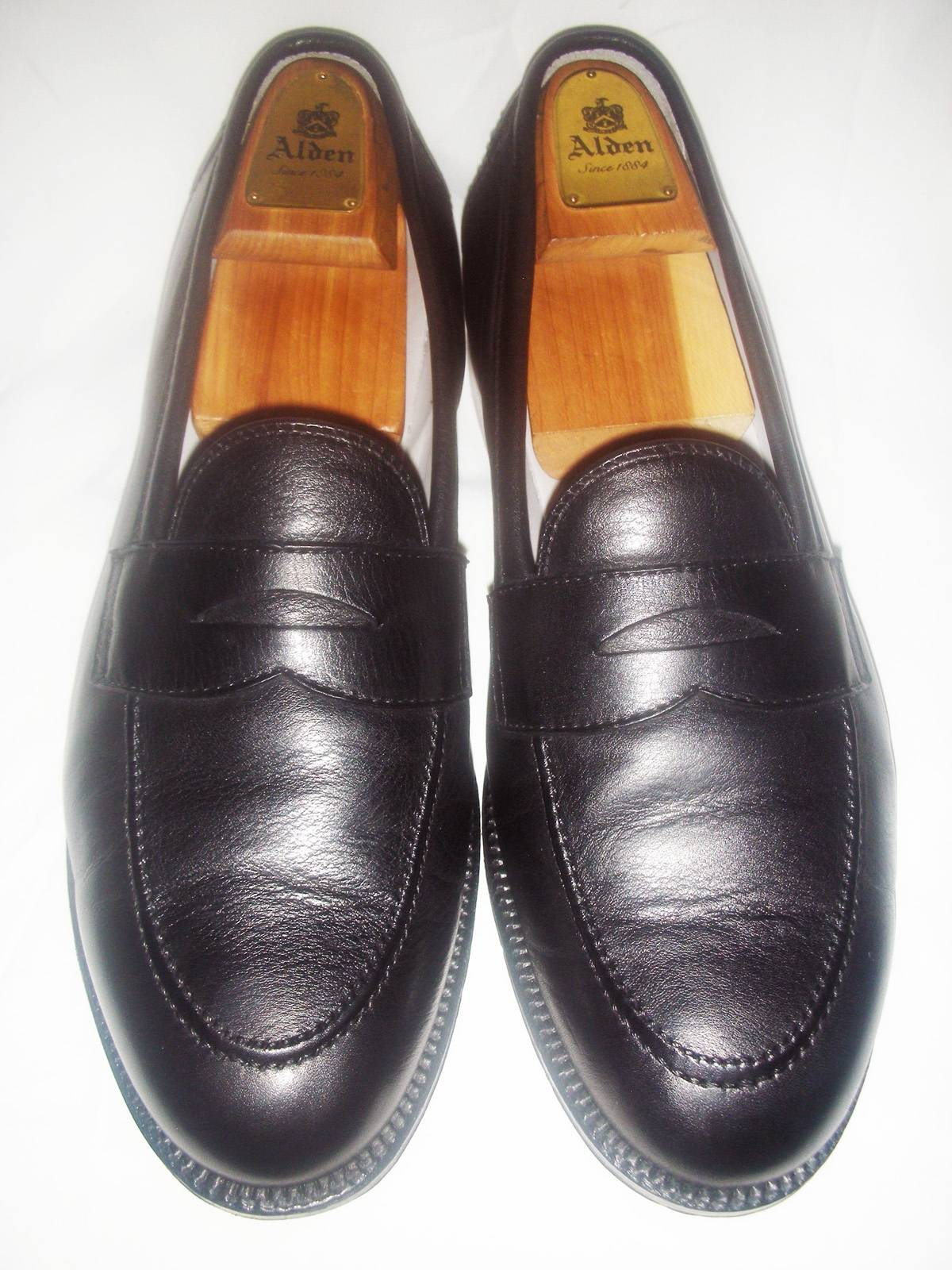 c9a68df5288 Alden  535 ALDEN STYLE 9695F BLACK CALFSKIN FLEX PENNY LOAFERS Size 10.5 -  Casual Leather Shoes for Sale - Grailed