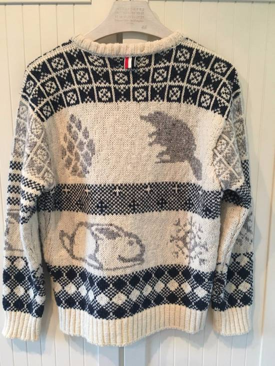 Thom Browne Donegal Icon Fair Isle Sweater in White Wool Mix Size US L / EU 52-54 / 3 - 5
