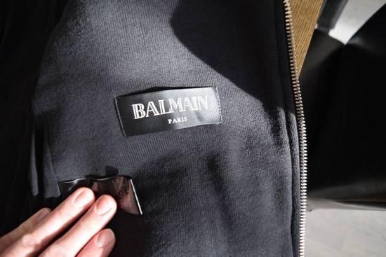 Balmain Authentic BALMAIN COTTON-PANELLED LEATHER BIKER JACKET Size S Brand New Size US S / EU 44-46 / 1 - 7