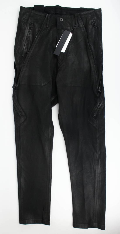 Julius 7 Black 'Coated Denim Stretch Zip Pocket' Baggy Jeans Pants 3/M Size US 34 / EU 50
