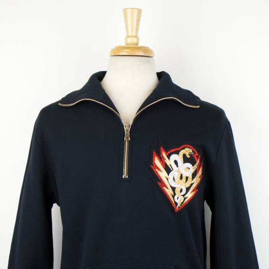 Balmain Men's Blue Cotton Snake Embroidered Henley Sweater Size Large Size US L / EU 52-54 / 3 - 4
