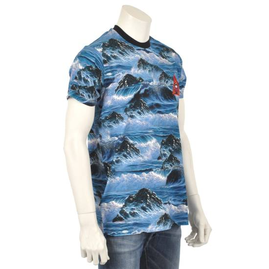 Givenchy Blue Hawaii Print Crew Neck T-Shirt With Red 'Eye of Providence' Embroidery Size US XXS / EU 40 - 3